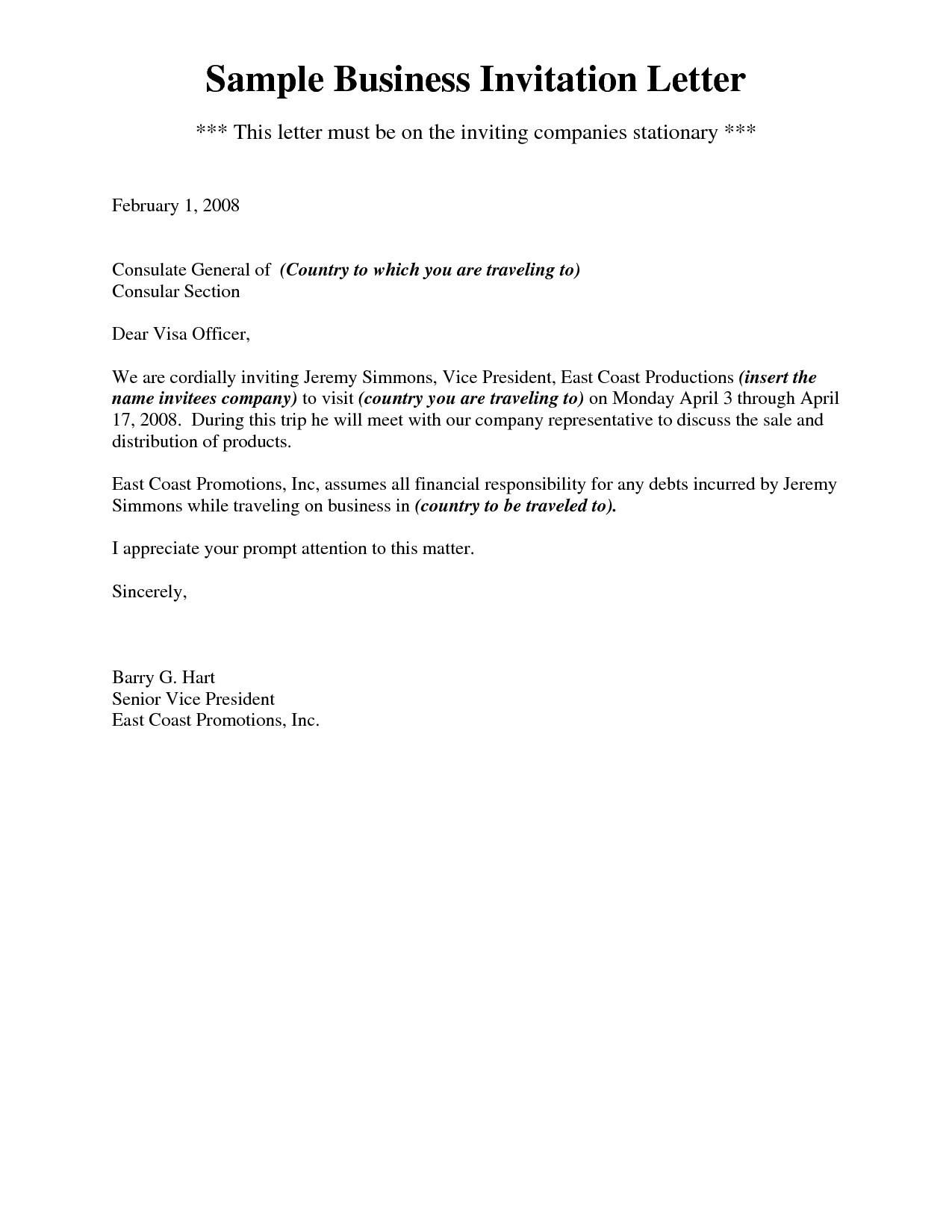Business Invitation Letter Template - Invitation Letter format for Schengen Business Visa Fresh Business