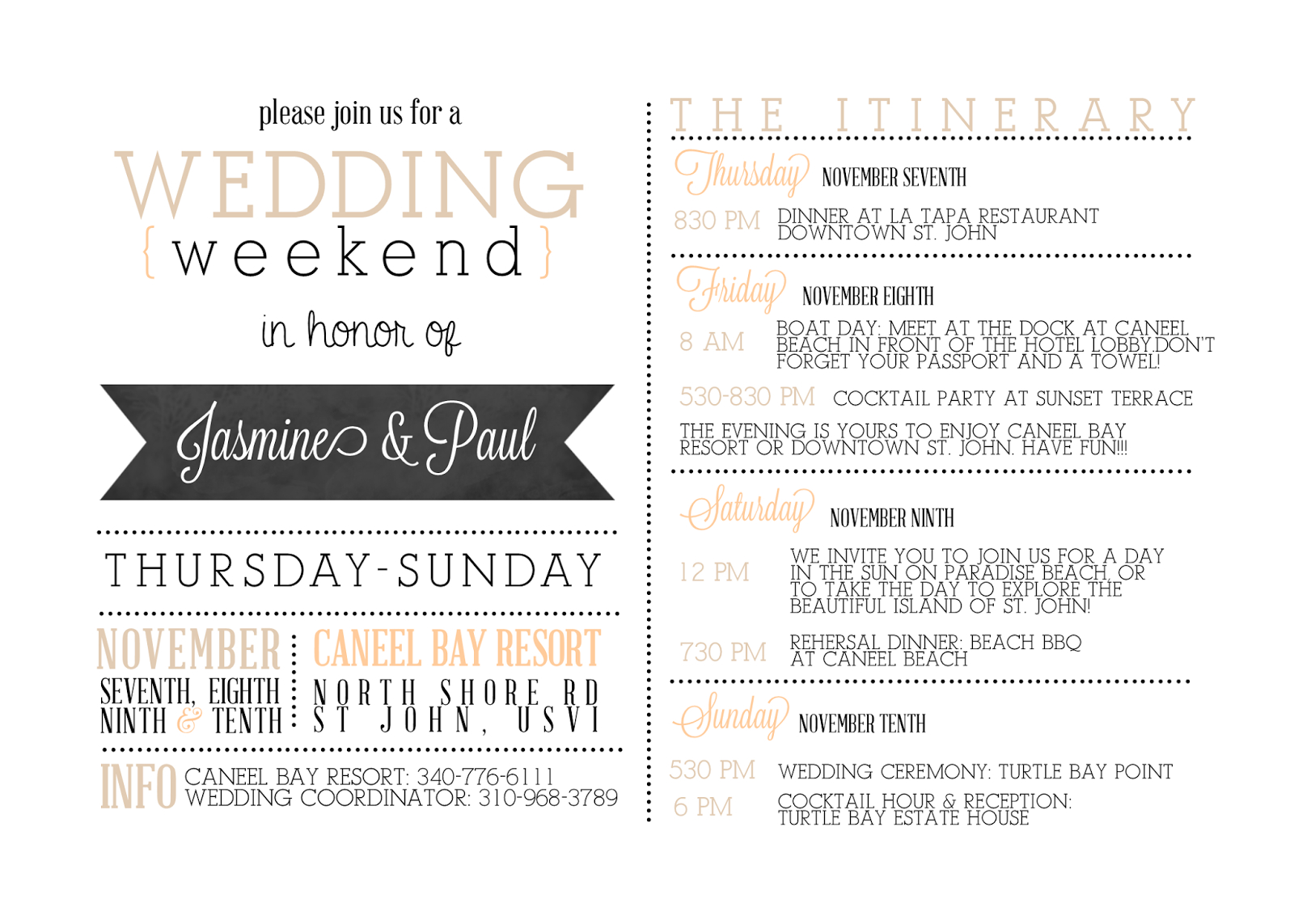 Wedding Welcome Bag Letter Template - Itinerary Template for Wedding Guests