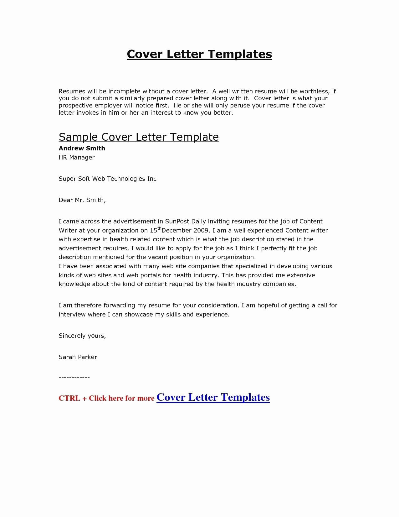 Sample Cover Letter Template - Job Application Letter format Template Copy Cover Letter Template Hr