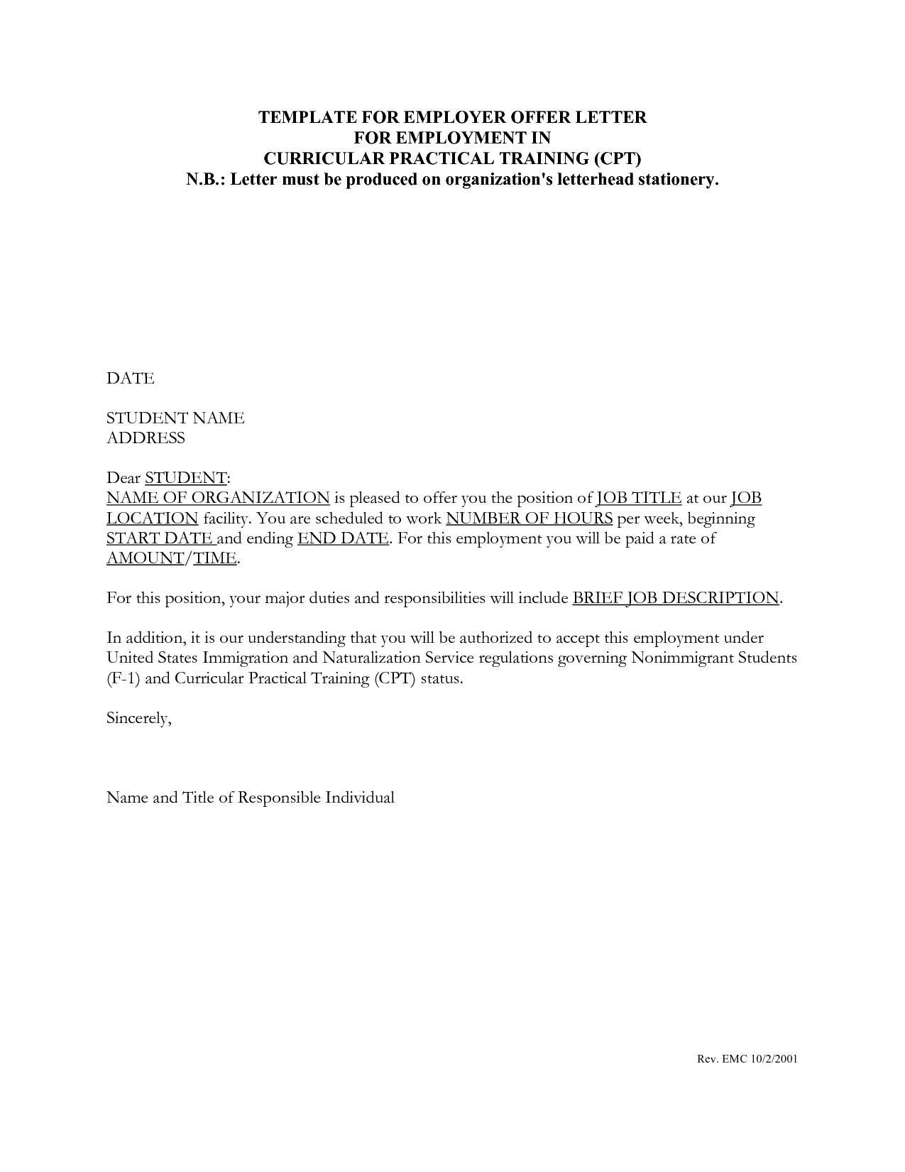 Opt Job Offer Letter Template - Job Fer Letter Example Best Job Fer Letter Sample Qatar New Job