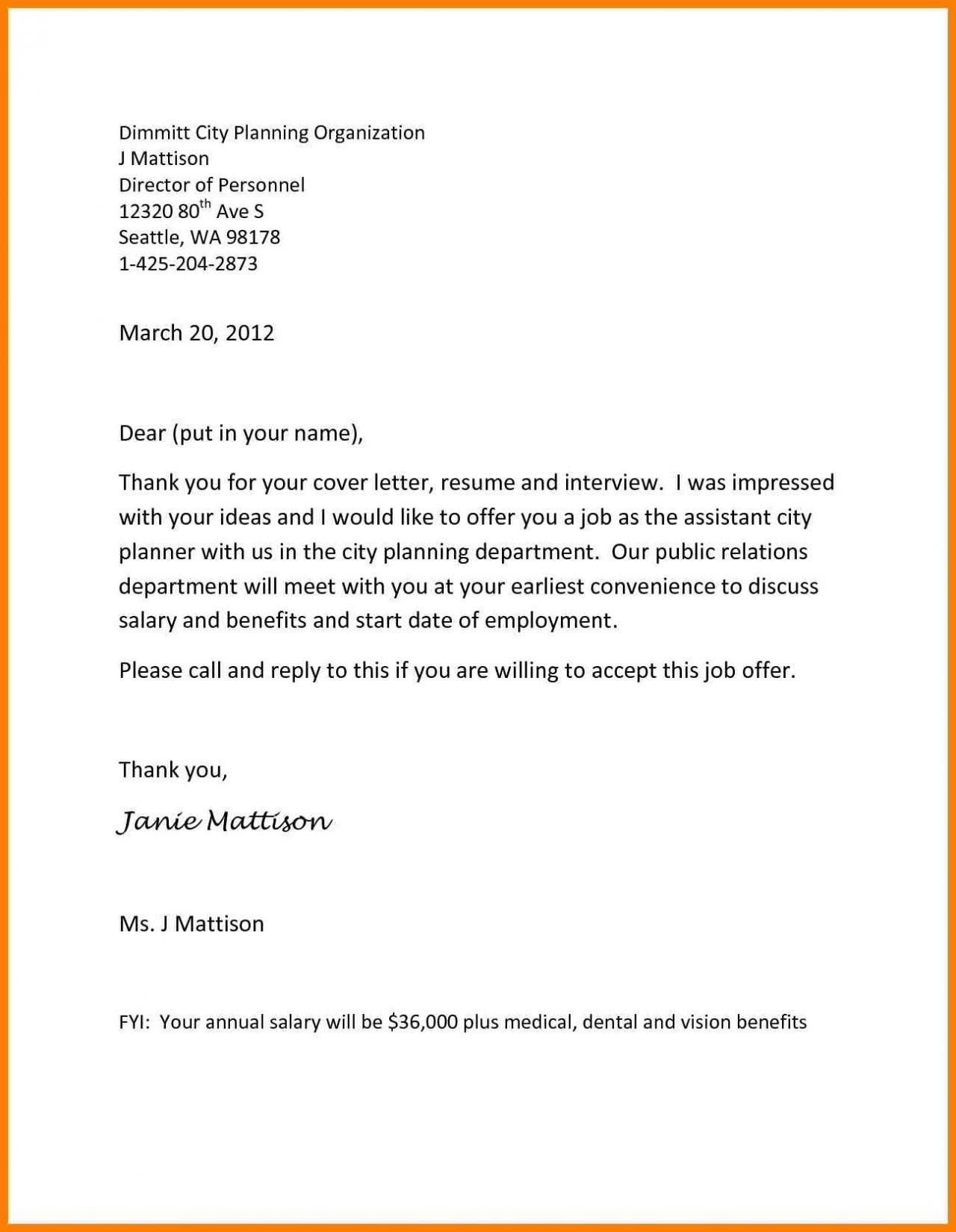 Job Offer Letter Template - Job Fer Letter Template Beautiful Job Fer Letter Template Us Copy