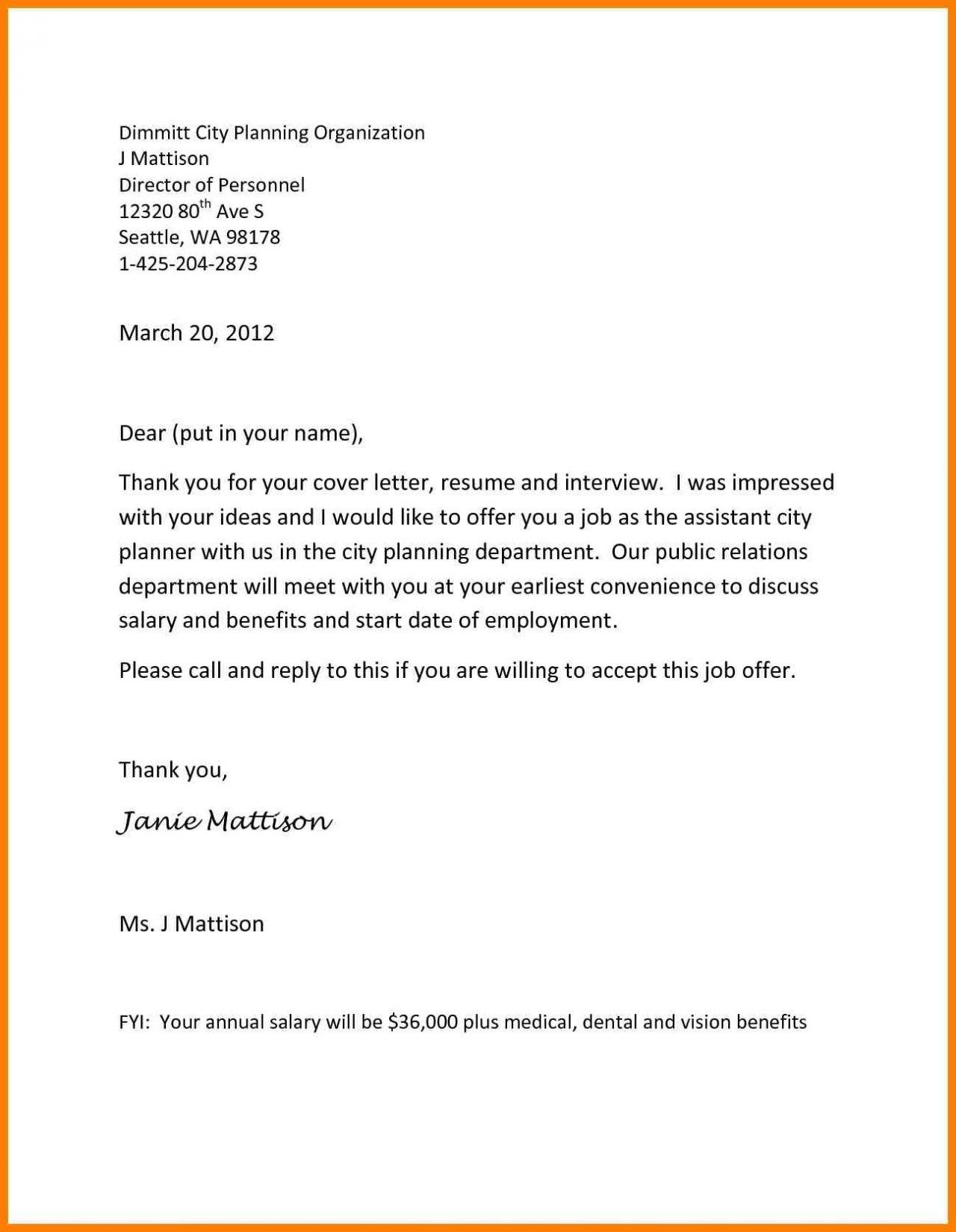 New Employee Offer Letter Template - Job Fer Letter Template Us Copy Od Consultant Cover Letter Fungram