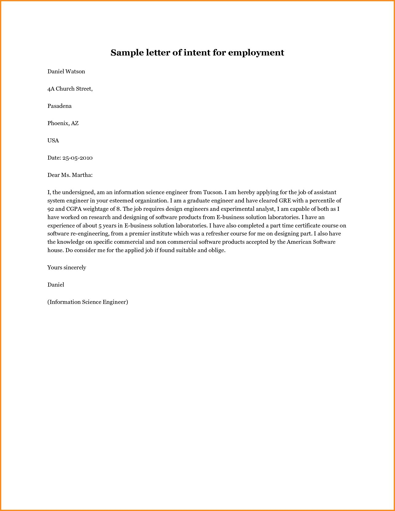 letter of intent template job