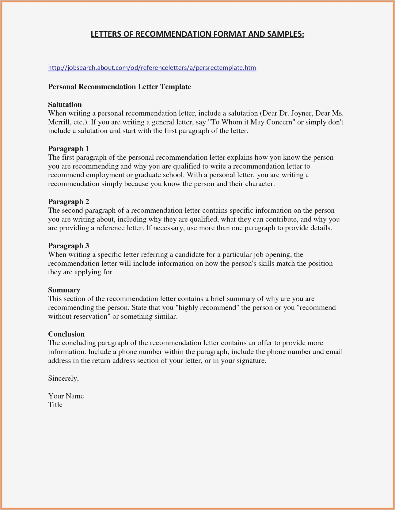 General Letter Of Recommendation Template - Job Letter Re Mendation Template Best Free Letter Re Mendation