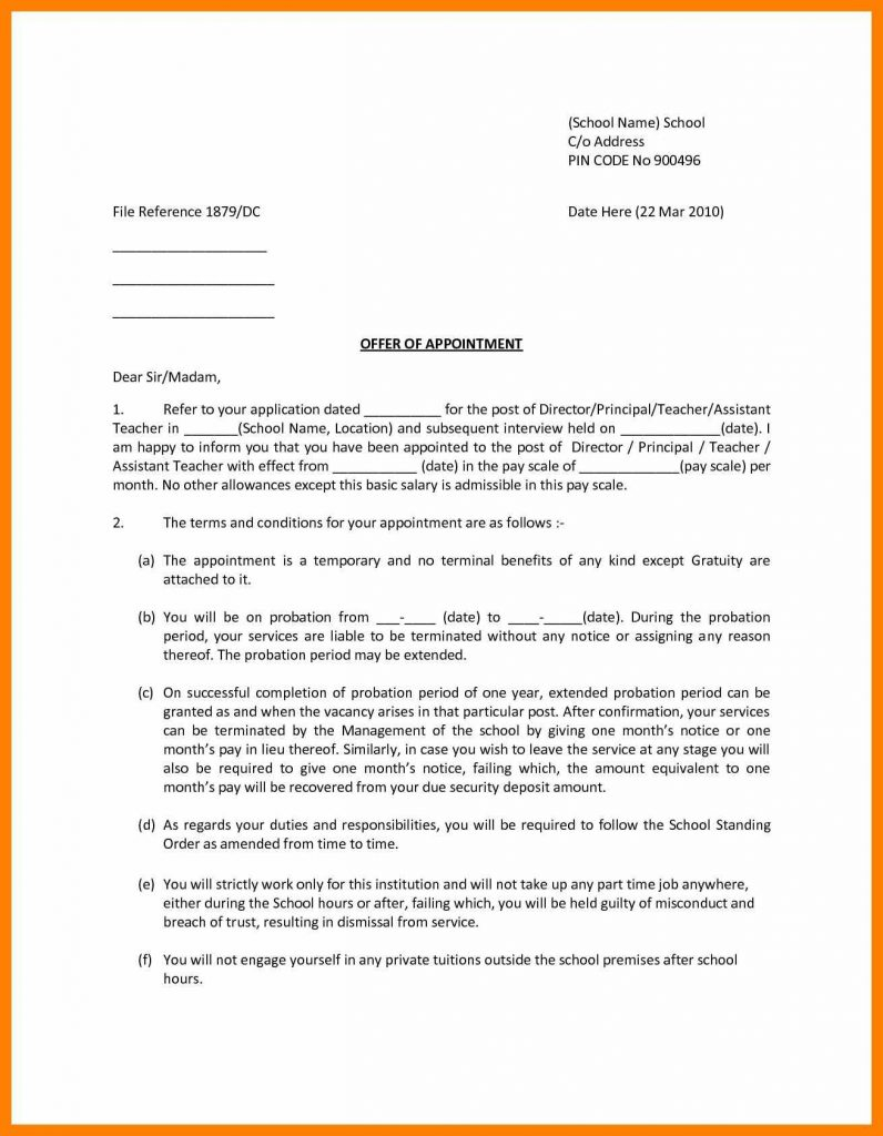 Temp to Perm Offer Letter Template Samples | Letter Template Collection