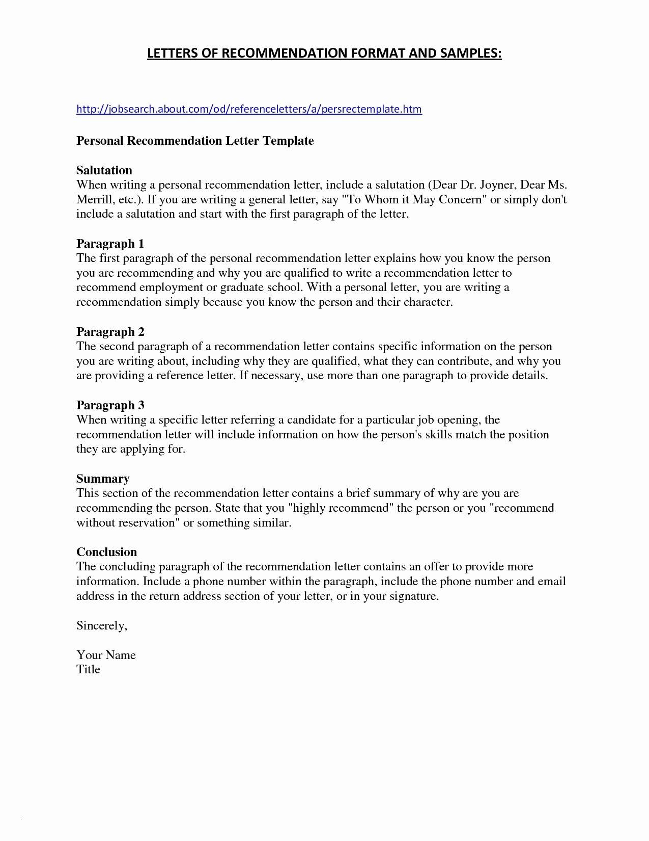 Microsoft Word Letter Of Recommendation Template - Job Re Mendation Letter Best Bination Resume formats Unique Resume