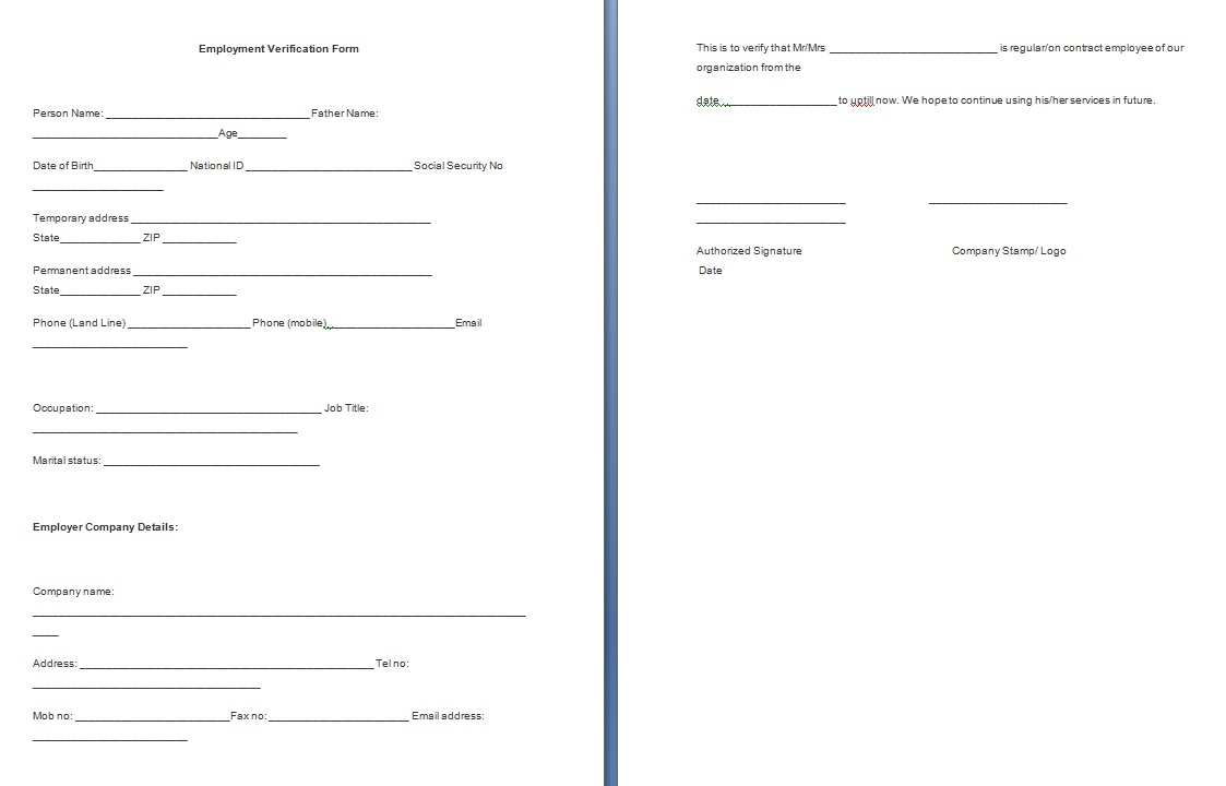 Free Employment Verification Letter Template Download - Job Reference Template