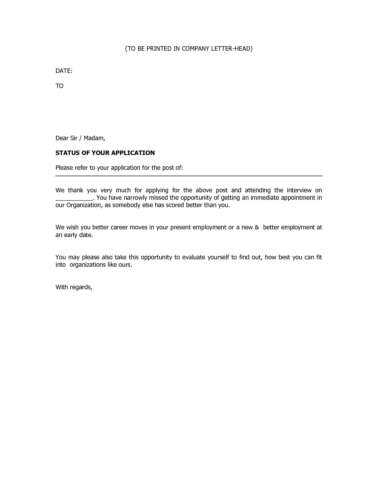 Rejection Letter Template after Interview - Job Rejection Letter Sample Luxury Business Rejection Letter