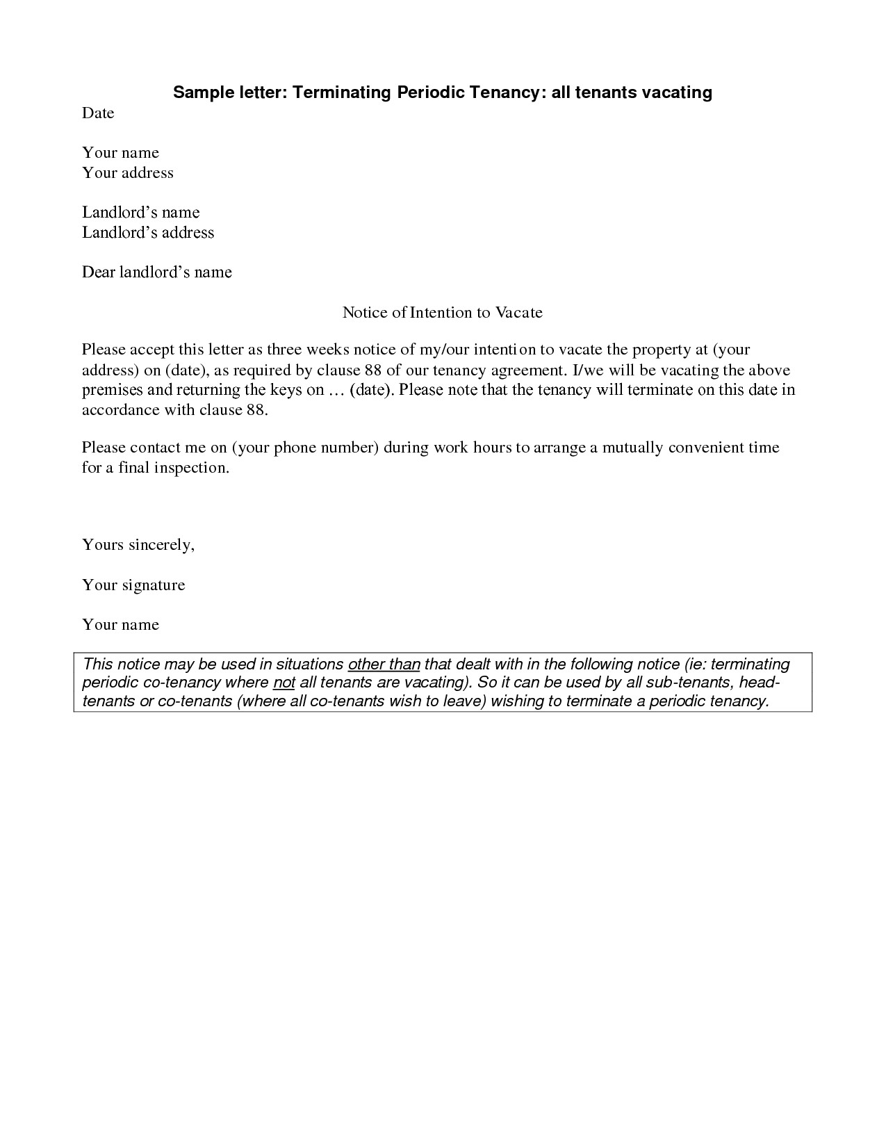 Unauthorized Tenant Letter Template - Landlord End Tenancy Letter Template