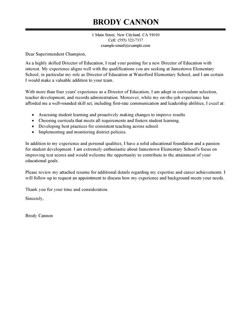 Template for Cover Letter for Teaching Position - Leading Professional Director Cover Letter Examples & Resources