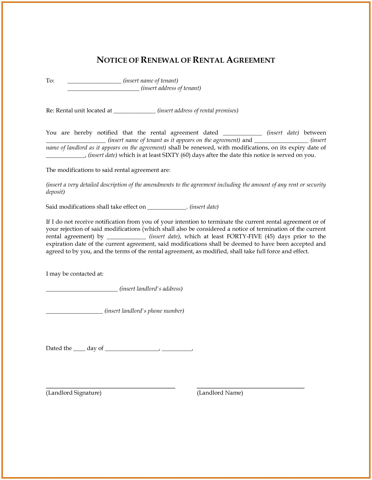 lease renewal letter to tenant template