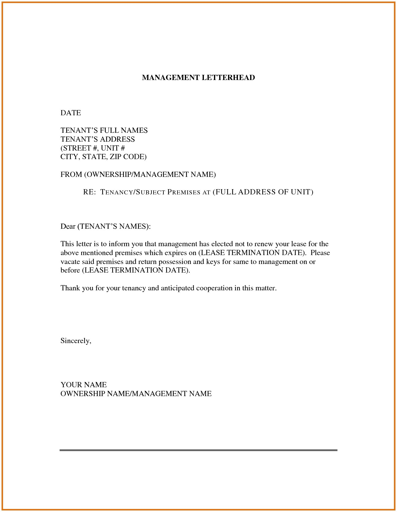 Not Renewing Lease Letter Template - Lease Renewal Letter