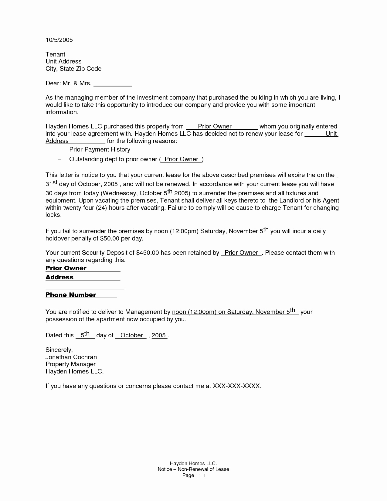 Not Renewing Lease Letter Template - Lease Termination Letter to Landlord Awesome Renewal Notice Letter