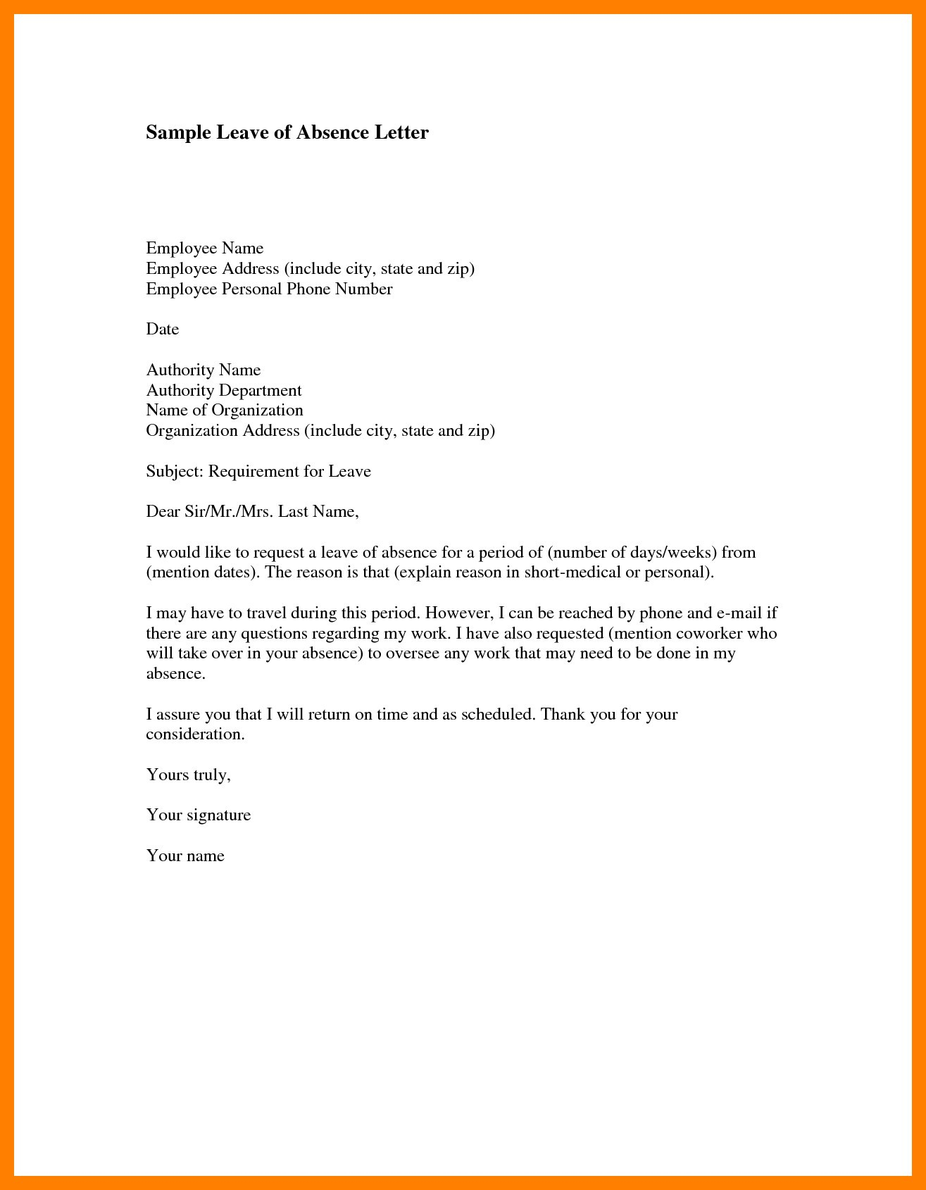 Personal Leave Of Absence Letter Template Collection Letter