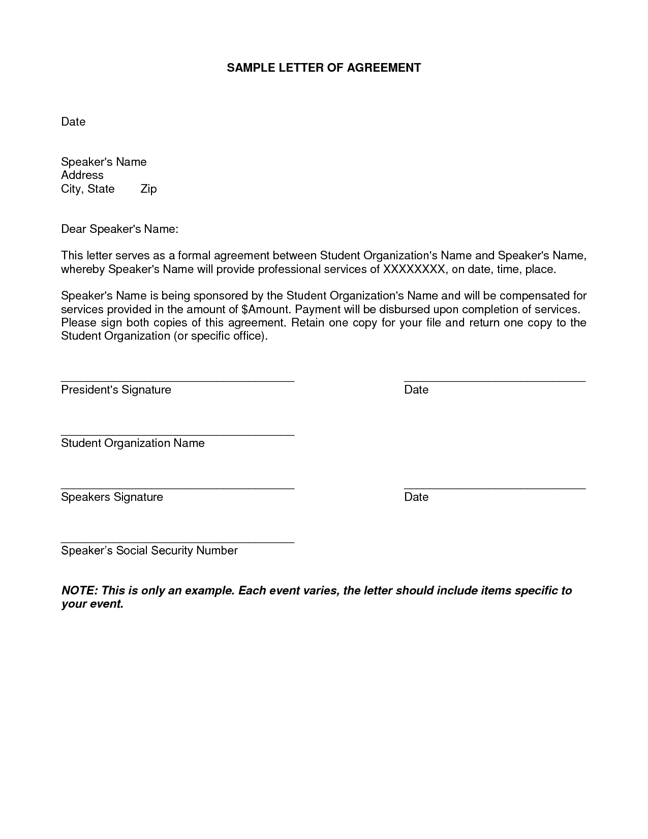 Payment Plan Letter Template - Letter Agreement Samples Template Seeabruzzo Letter Of
