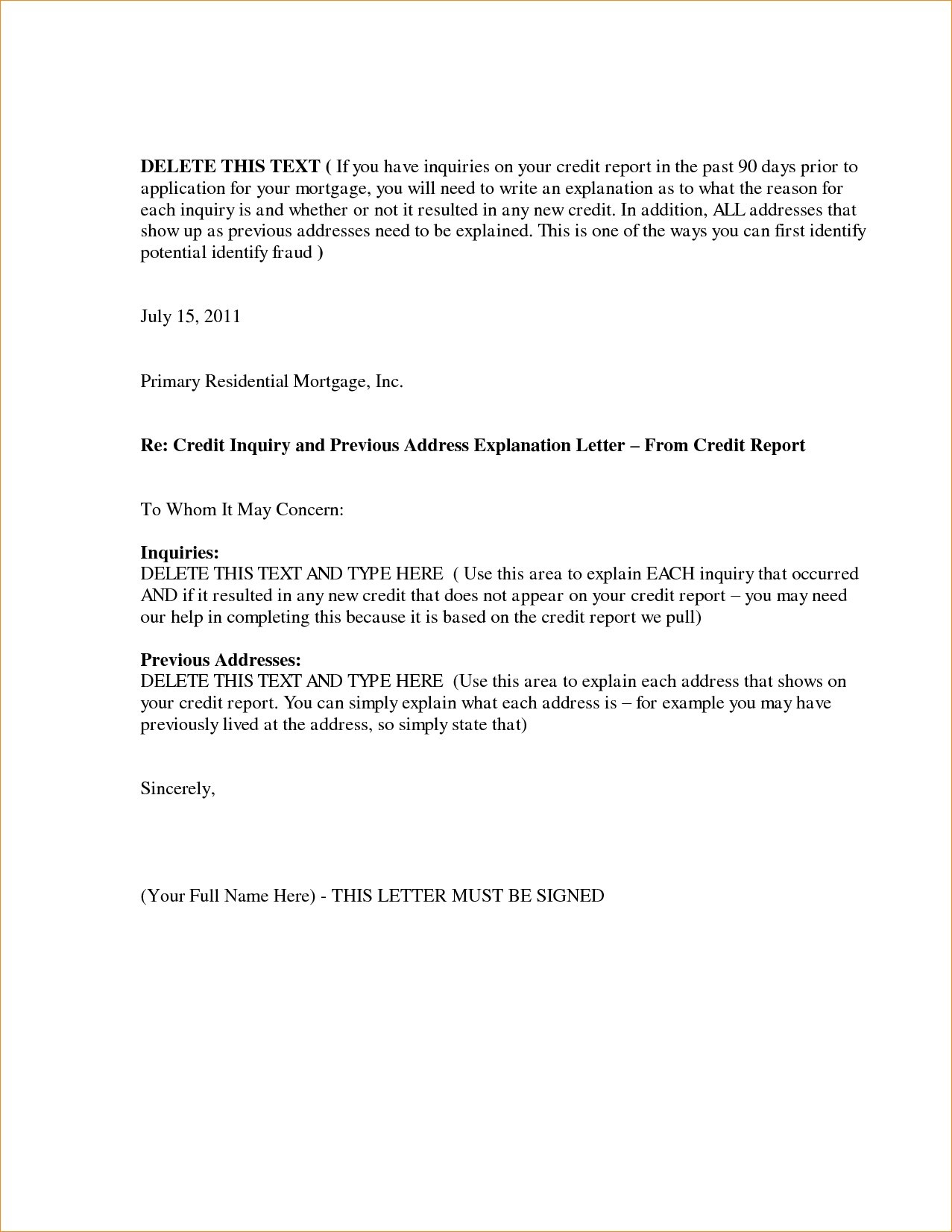 Letter Explanation for Credit Inquiries Template Examples