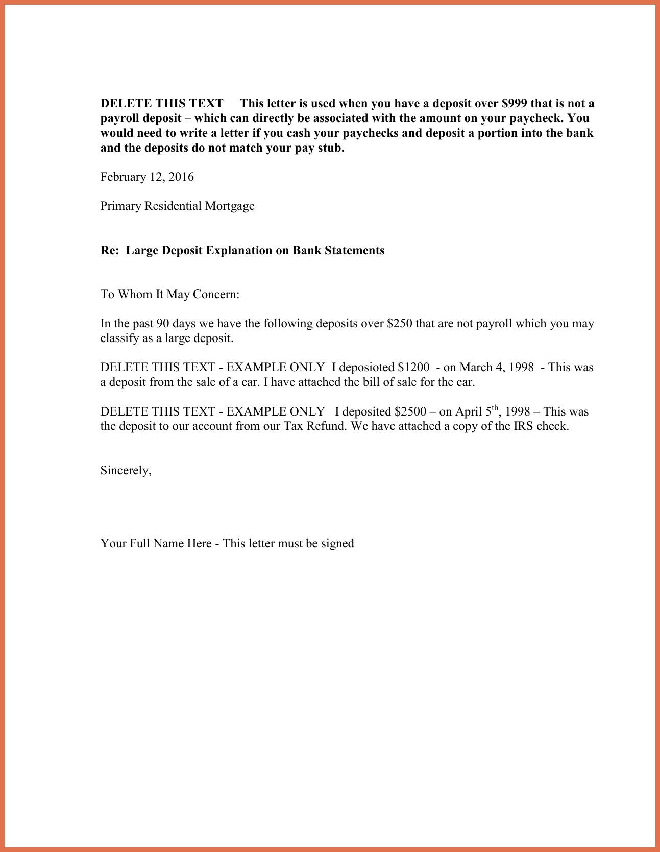 letter of explanation for large cash deposit letter of explanation for out refinance template 28494