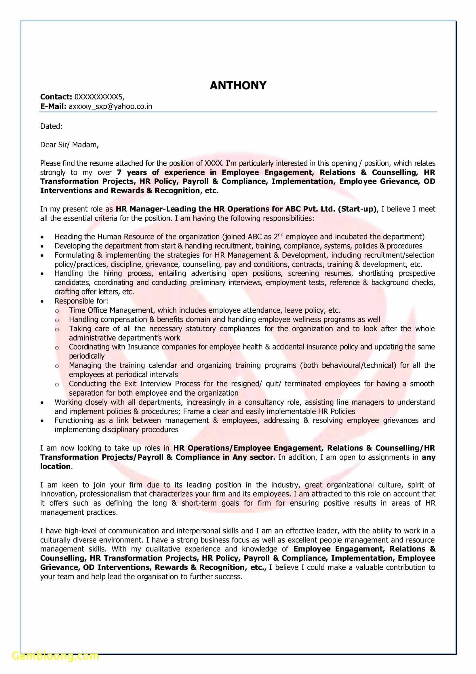 Startup Offer Letter Template - Letter format Cover Letter Elegant Free Resume Word format Download