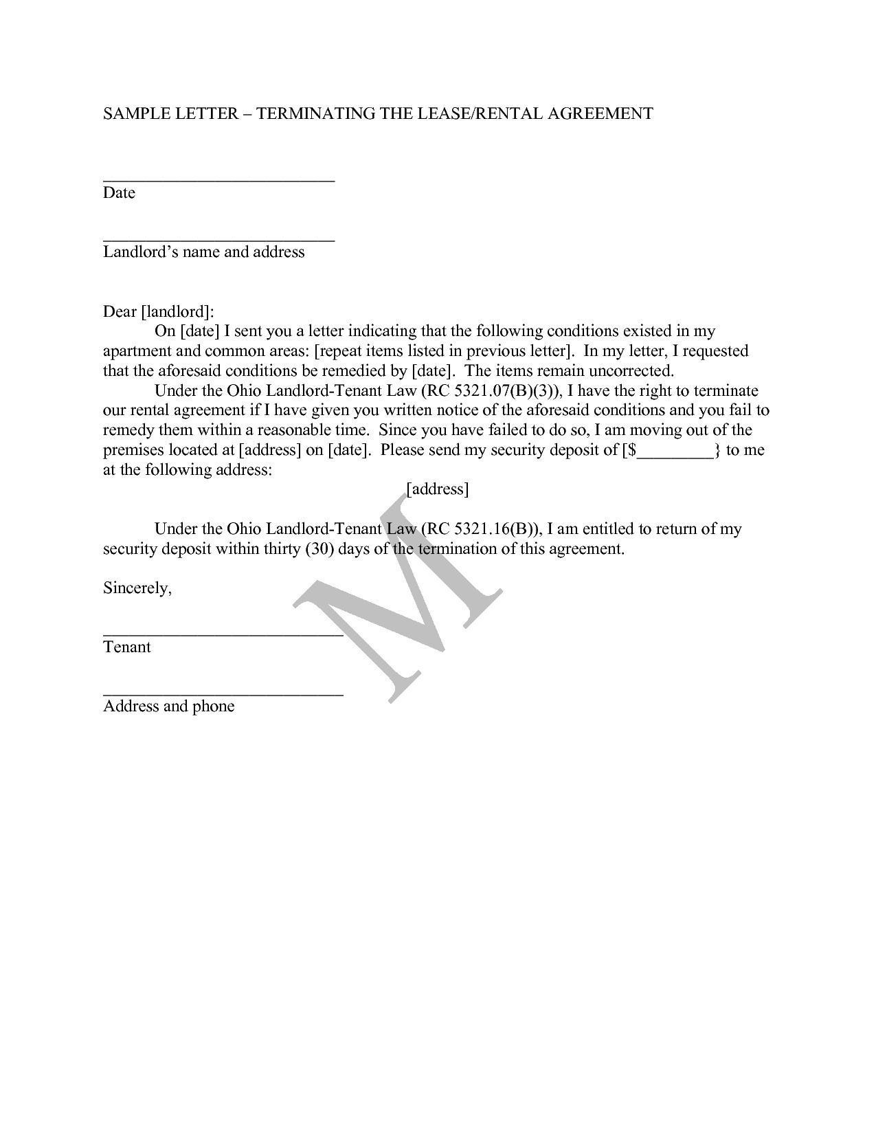 Landlord Agreement Letter Template - Letter format for Agreement Termination Valid Letter format for
