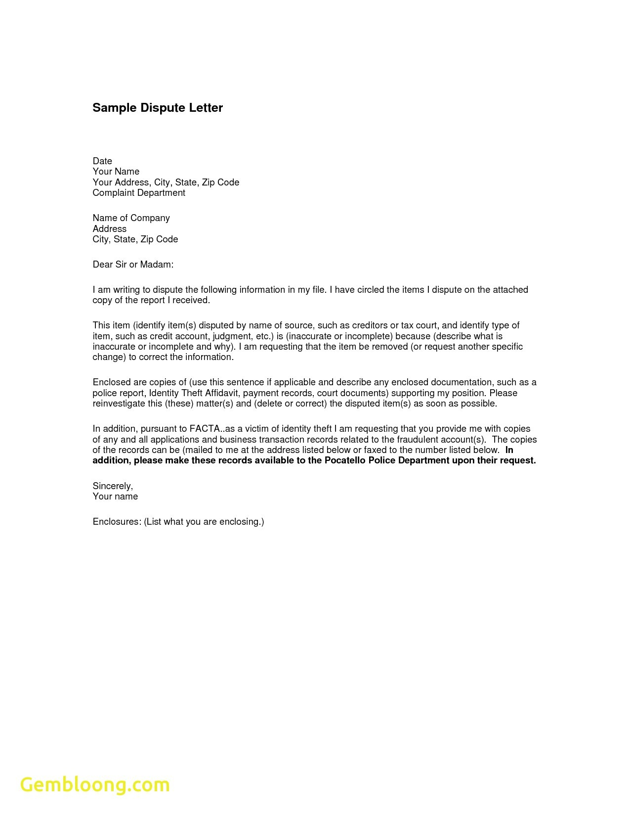 Credit Dispute Letter Template - Letter format for Change Department Fresh Sample Credit Report