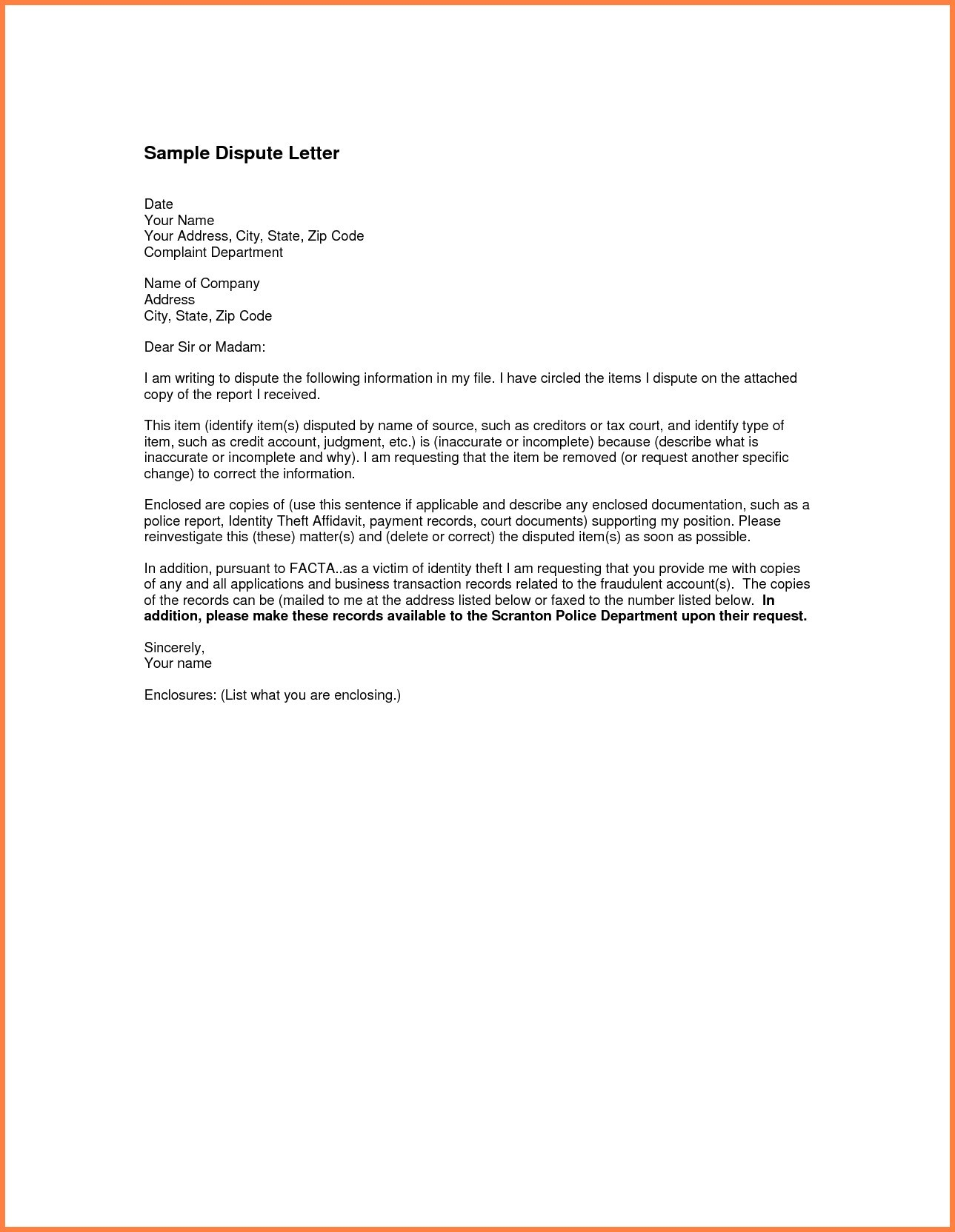 Promise to Pay Letter Template - Letter format for Change Department Fresh Sample Credit Report