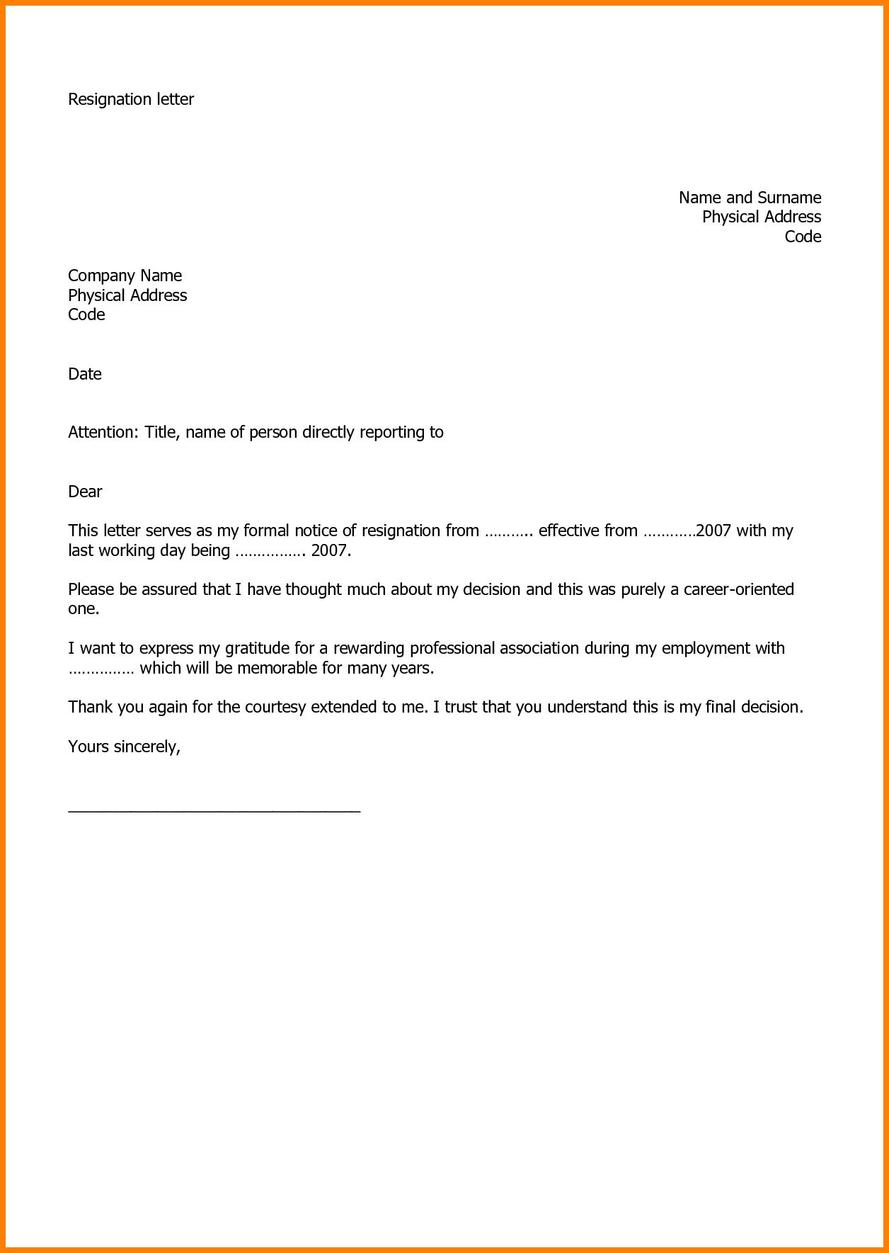 Letter Of Resignation Template Word 2007 - Letter format for Job Resignation Resignation Letter Example