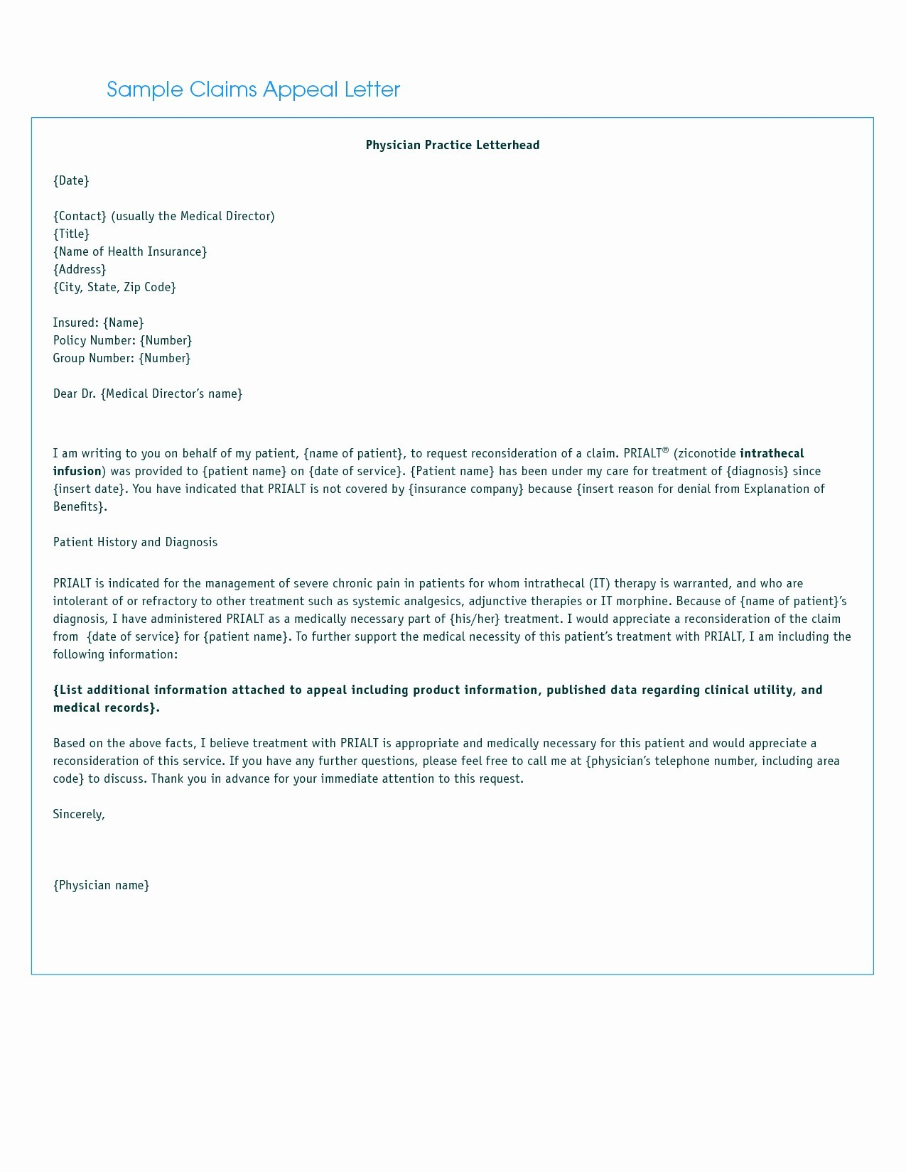 Medical Claim Appeal Letter Template - Letter format for Medical Insurance Claim Refrence Letter Insurance