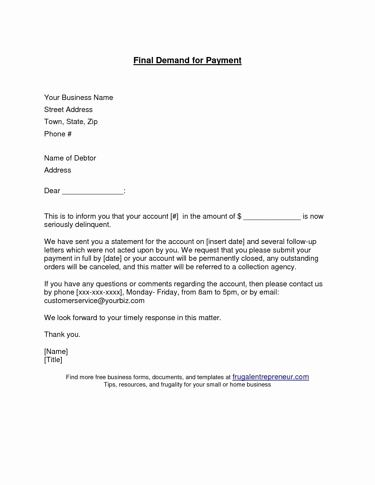 Final Demand for Payment Letter Template - Letter format for Payment Follow Up Inspirationa Sample Payment