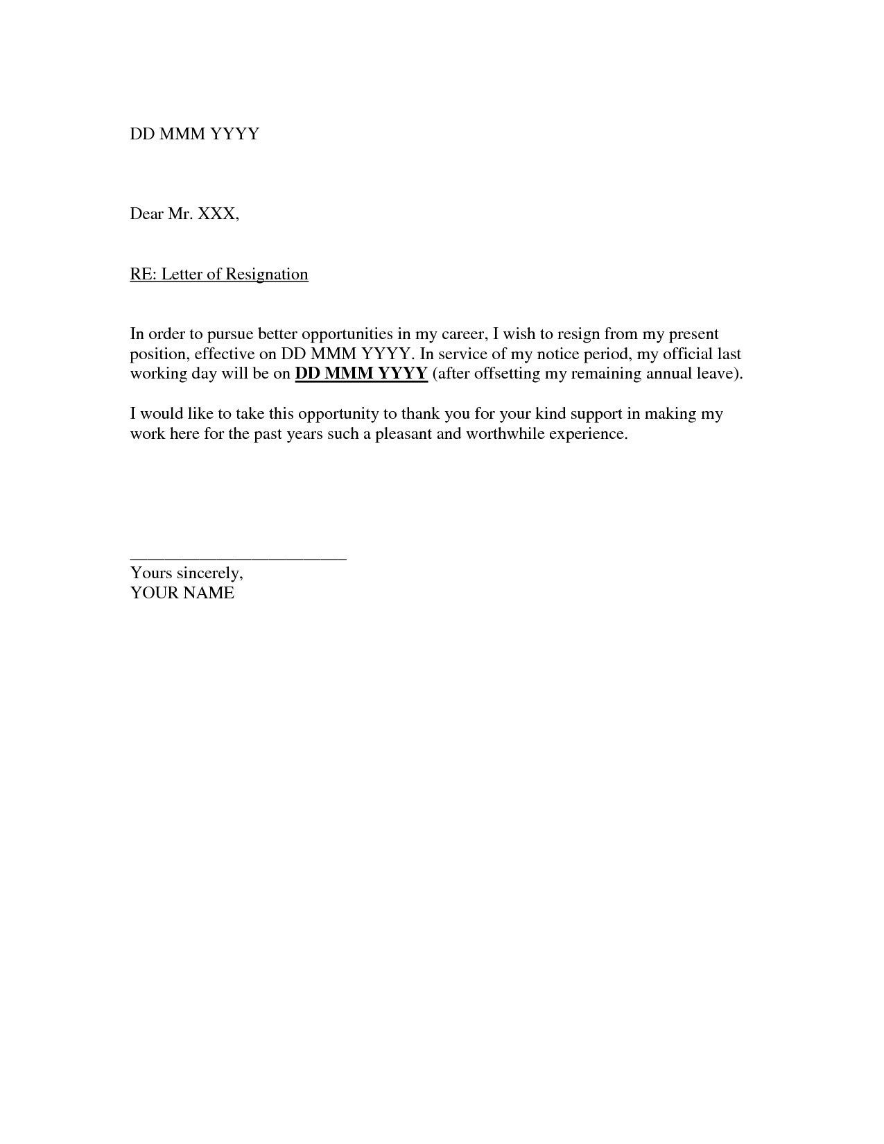 Official Letter Of Resignation Template - Letter format for Resigning Fresh Relieving Letter format In Ms Word