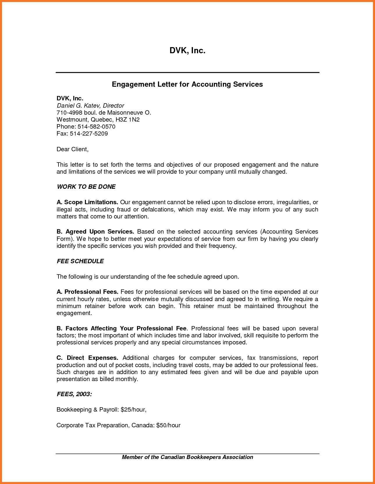 Tax Preparation Engagement Letter Template - Letter format Quebec Inspirationa Engagement Letter Cpa