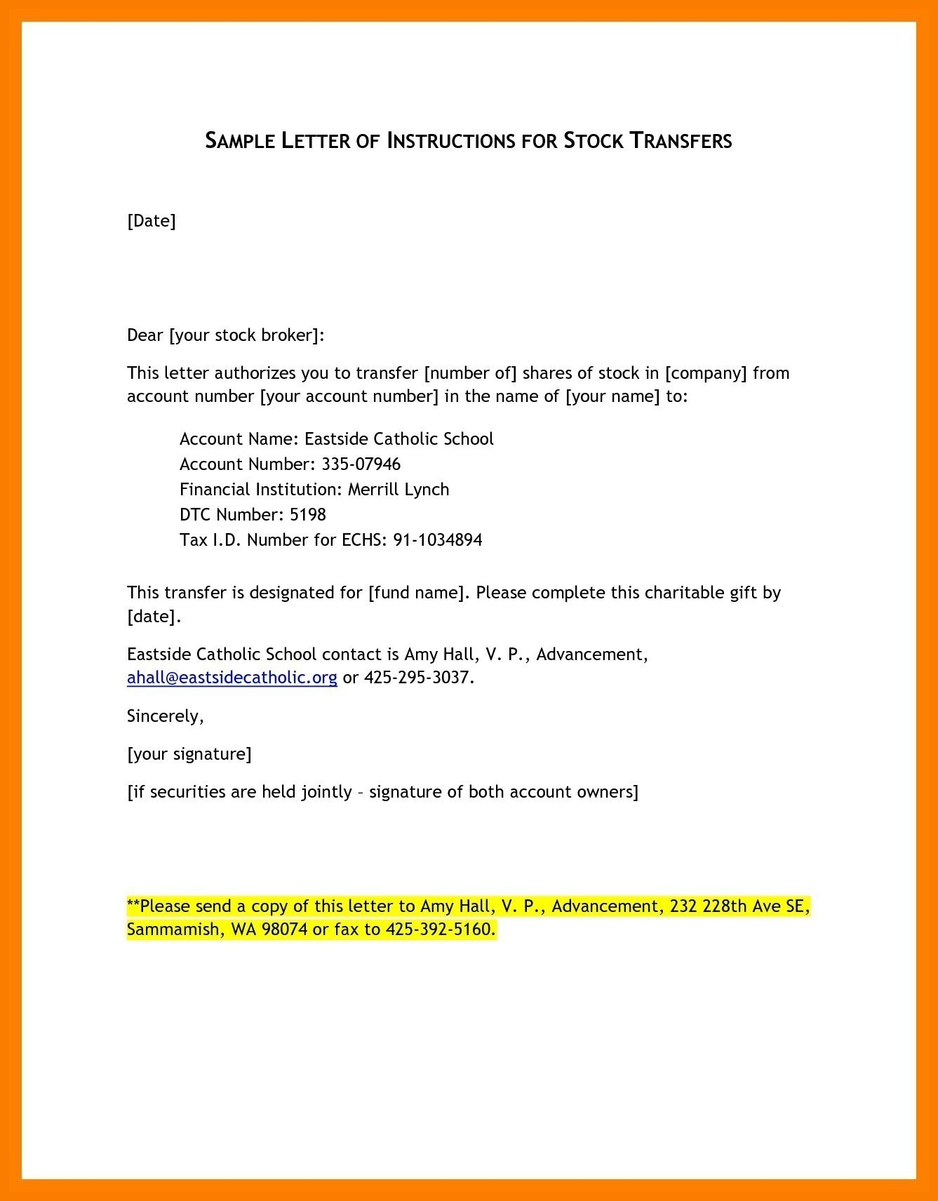 Letter Of Instruction Template Stock Transfer - Letter format Requesting Transfer Certificate College Best Letter