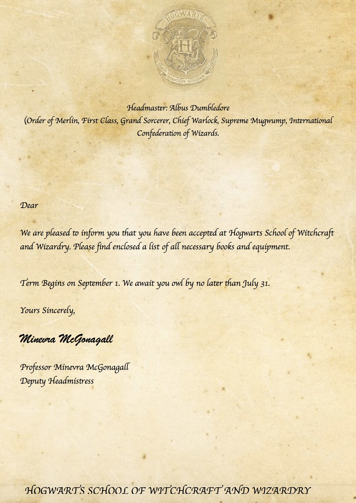 Hogwarts Acceptance Letter Template - Letter From Hogwarts Template