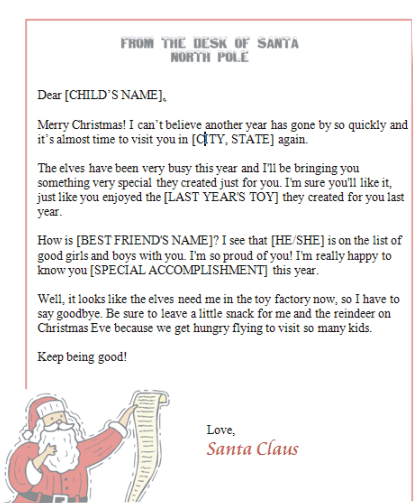 image regarding Free Printable Letter From Santa Template Word named No cost Printable Letter Against Santa Template Phrase Choice