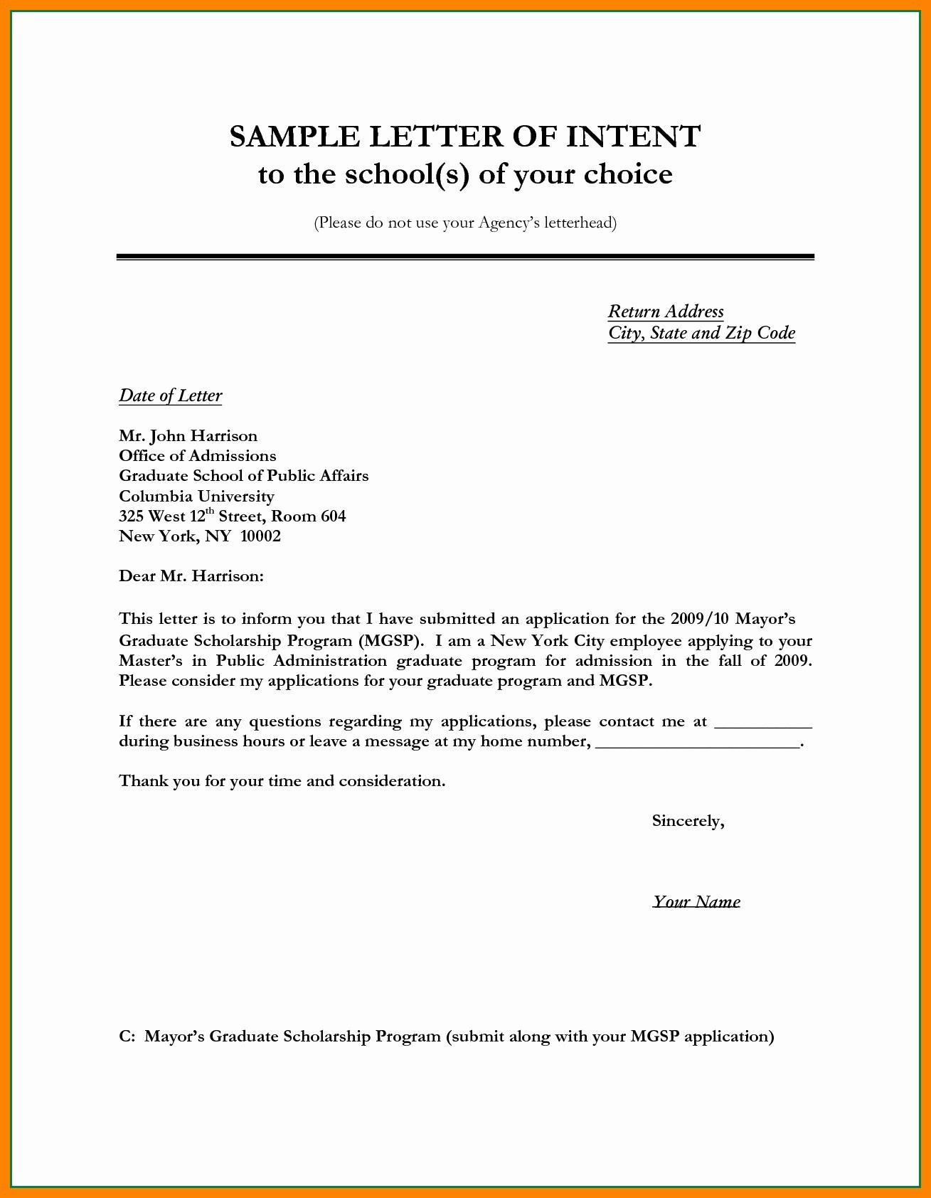 Letter Of Intent For Job Template Collection Letter Template