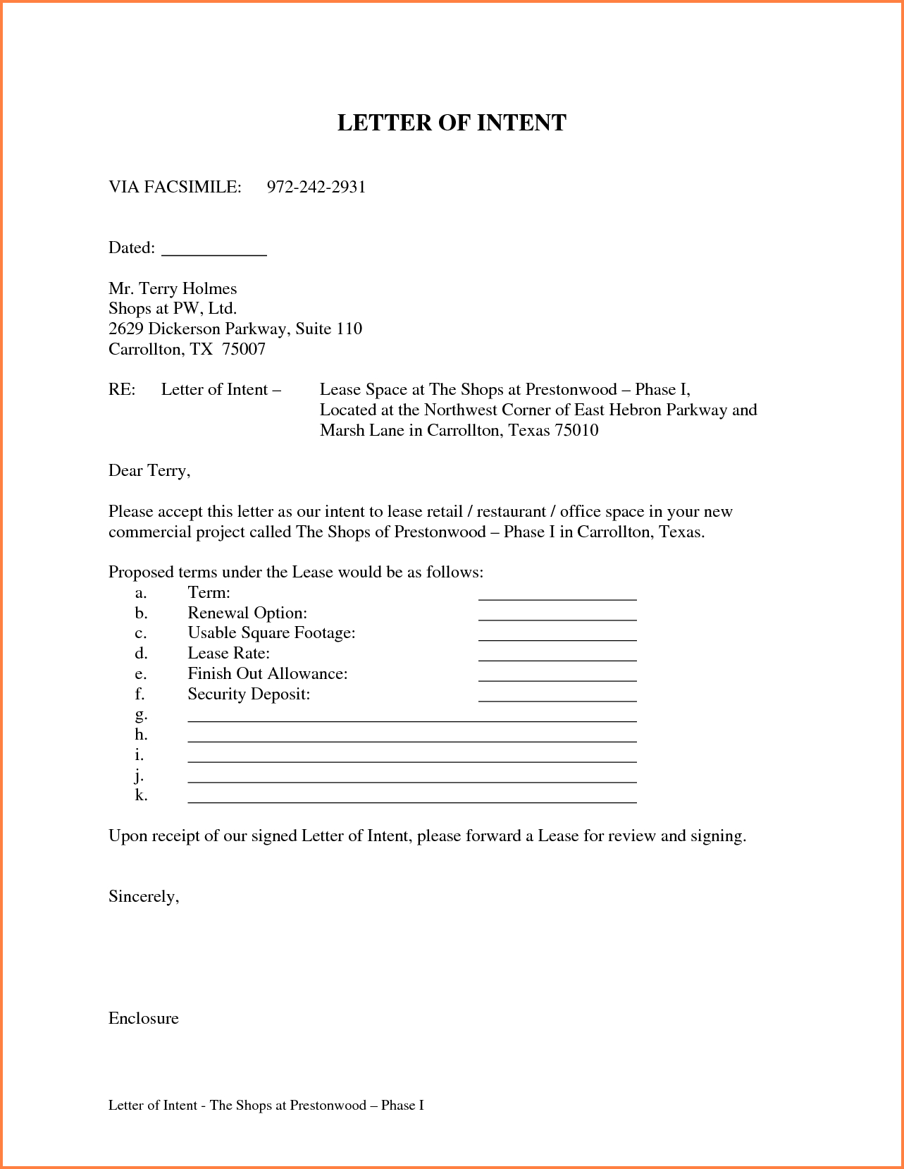 Commercial Real Estate Lease Letter Of Intent Template - Letter Intent for Lease Template Awesome Letter Intent for