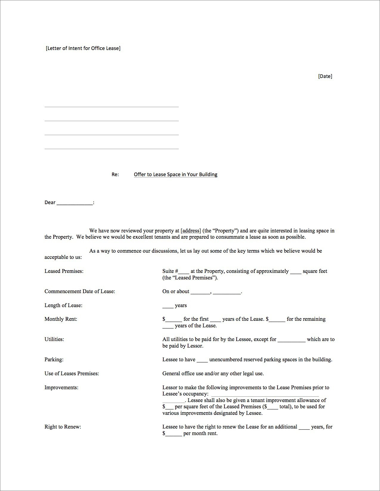Lease Commencement Letter Template - Letter Intent for Mercial Lease Sample Property to Real Estate