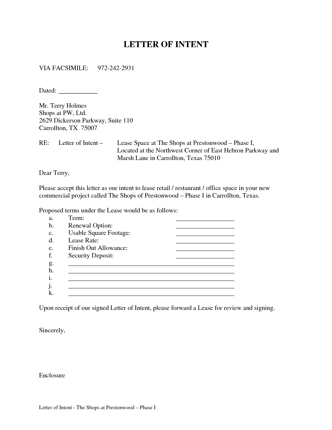 Letter Of Intent to Lease Commercial Space Template - Letter Intent for Mercial Lease Sample Real Estate Purchase