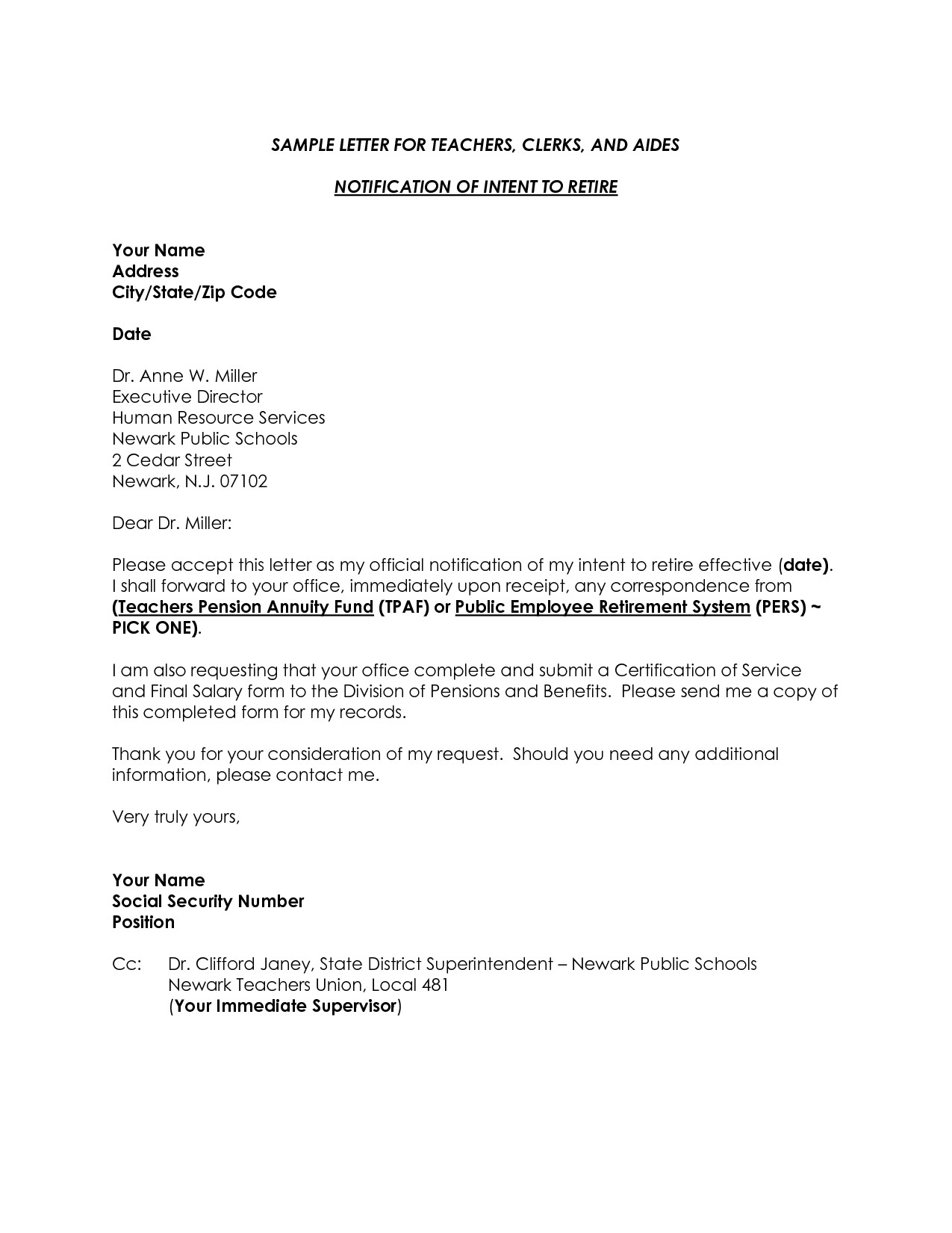 Letter Of Intent To Retire Template Samples Letter Template Collection