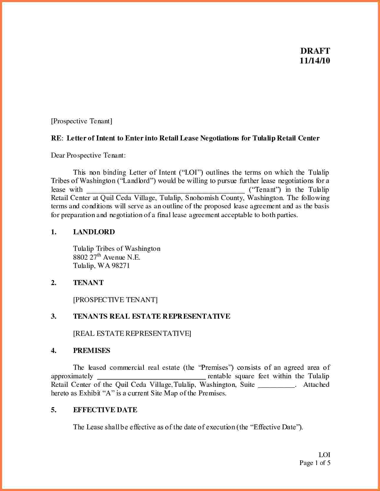 Intent to Lease Letter Template - Letter Intent Real Estate Lease Example Restaurant Sample Renewal