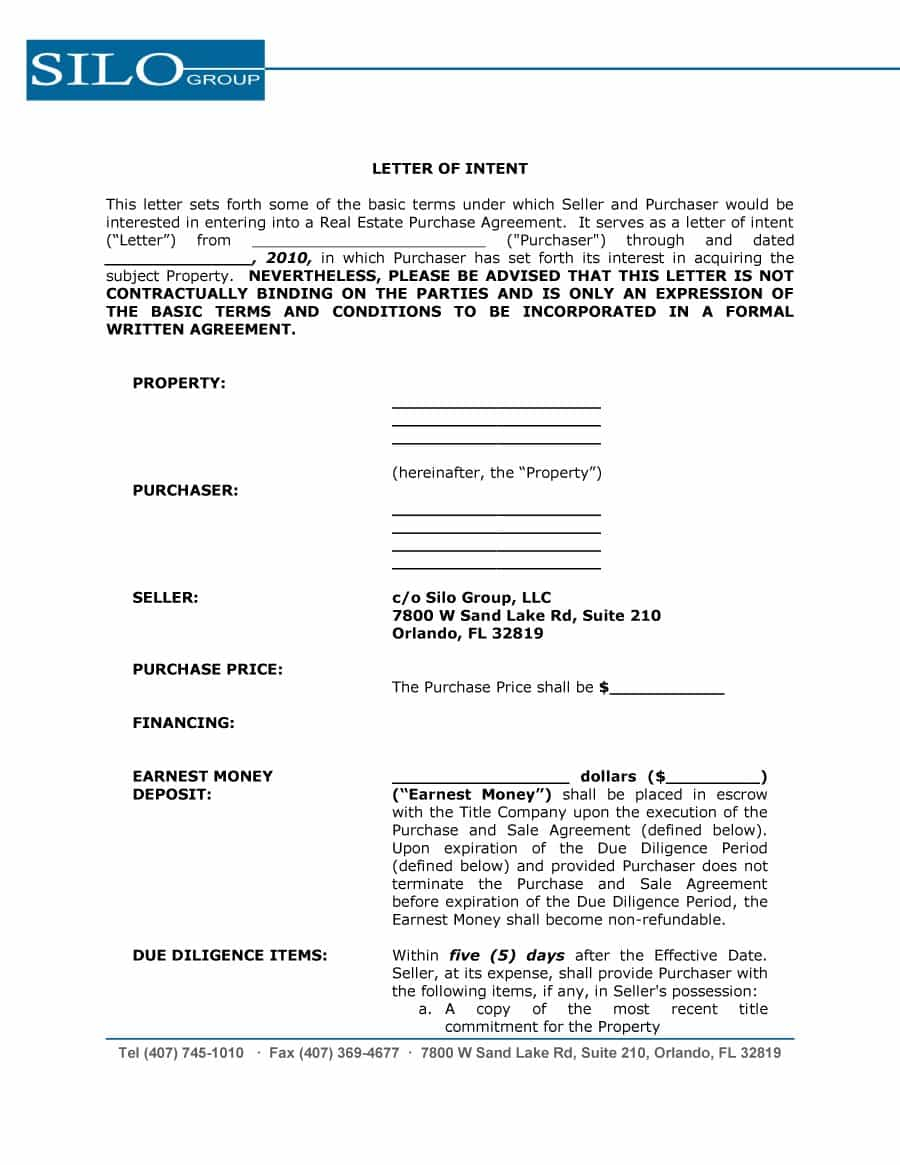 Letter Of Intent Template Commercial Lease - Letter Intent Templates Samples for Job School Business