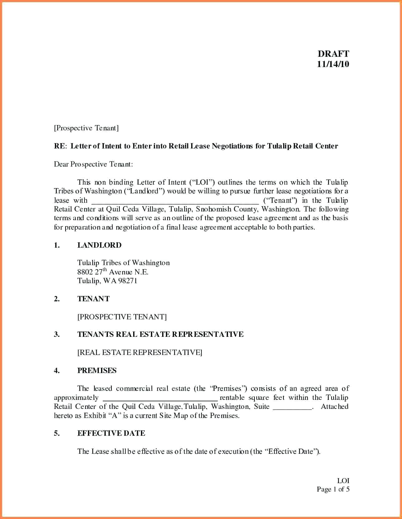 Letter Of Intent to Lease Template - Letter Intent Templates Samples for Job School Business