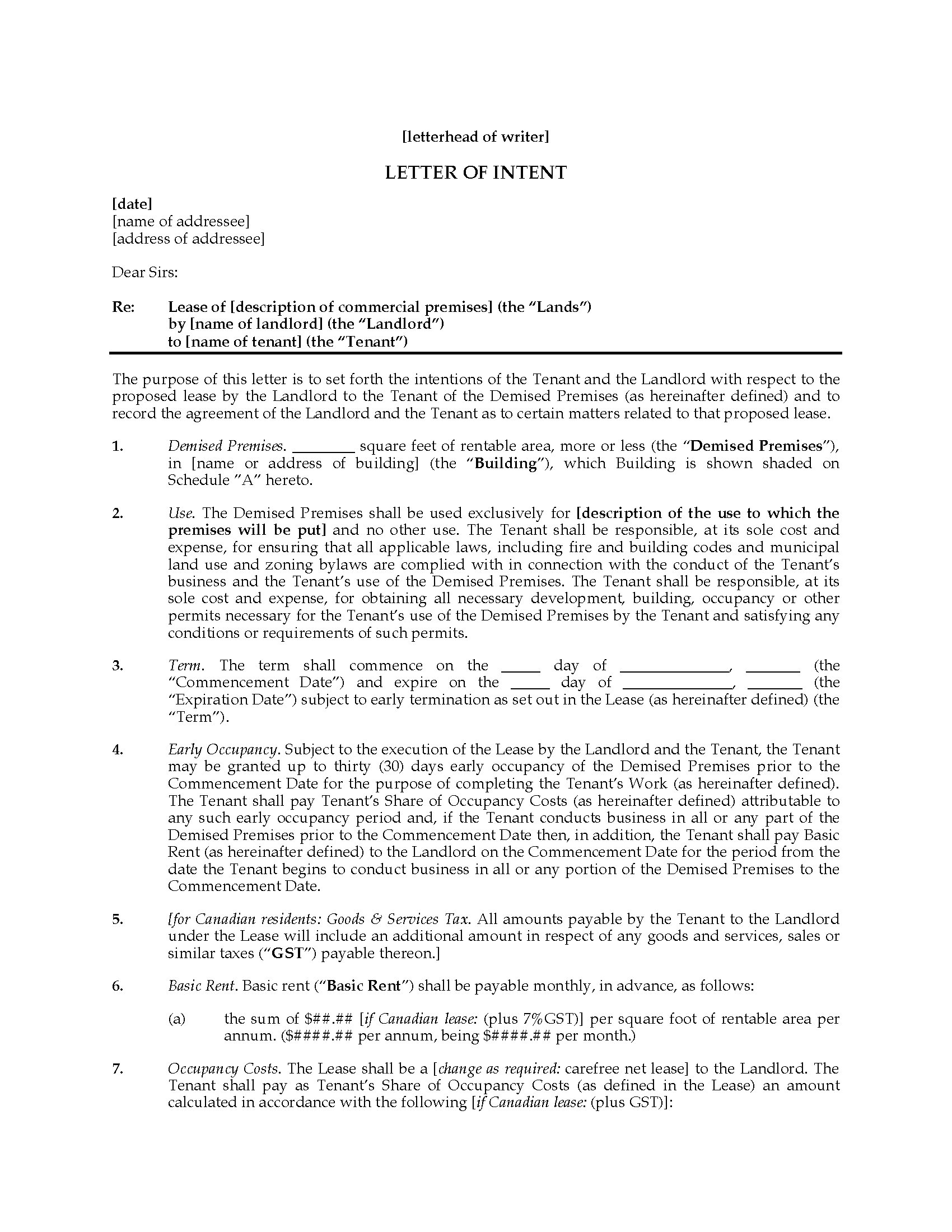 Letter Of Intent to Rent Template - Letter Intent Texasial Lease Sample Direct to Download for