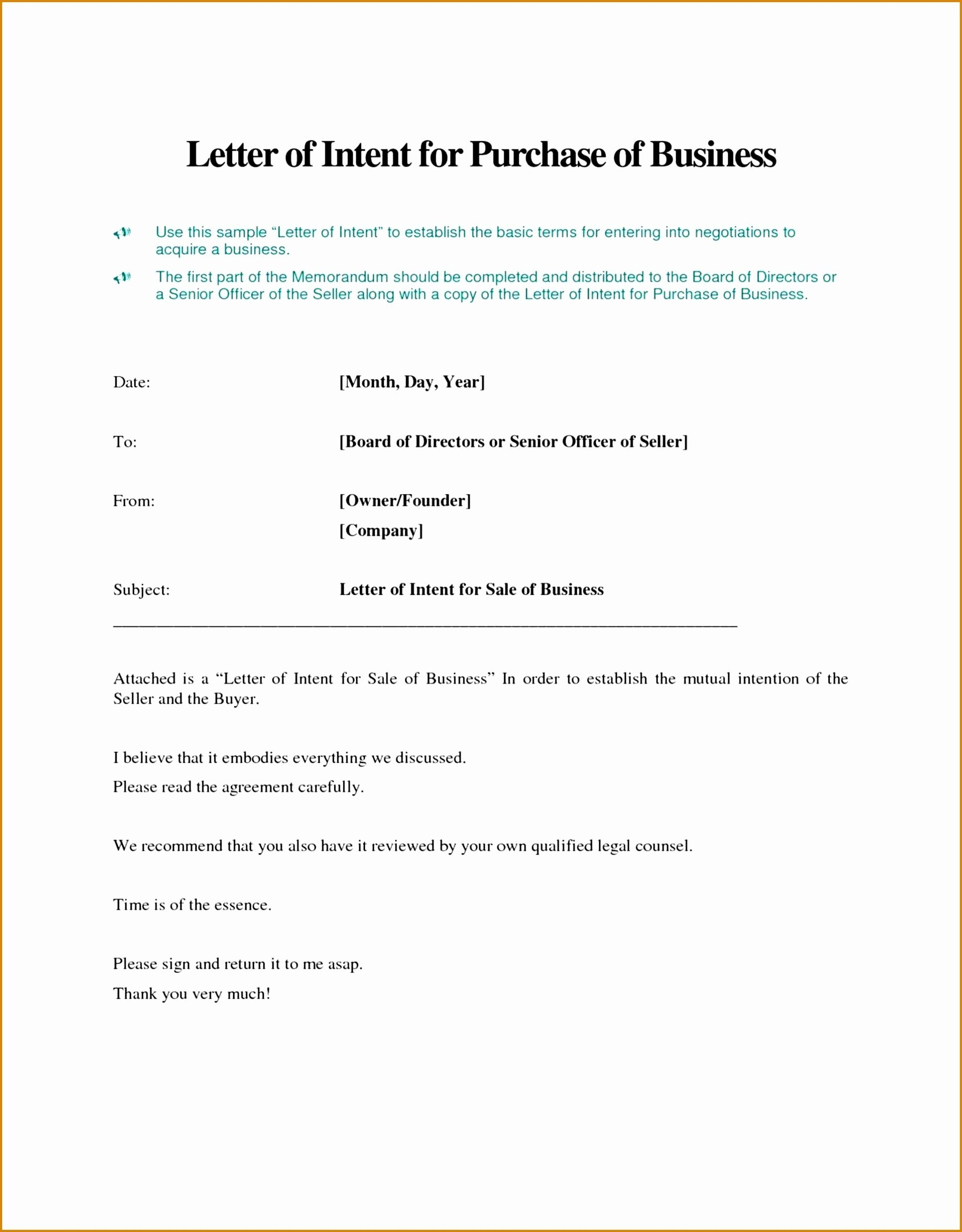 Letter Of Intent to Sell Business Template - Letter Intent to Do Business Template Best Awesome Letter Intent