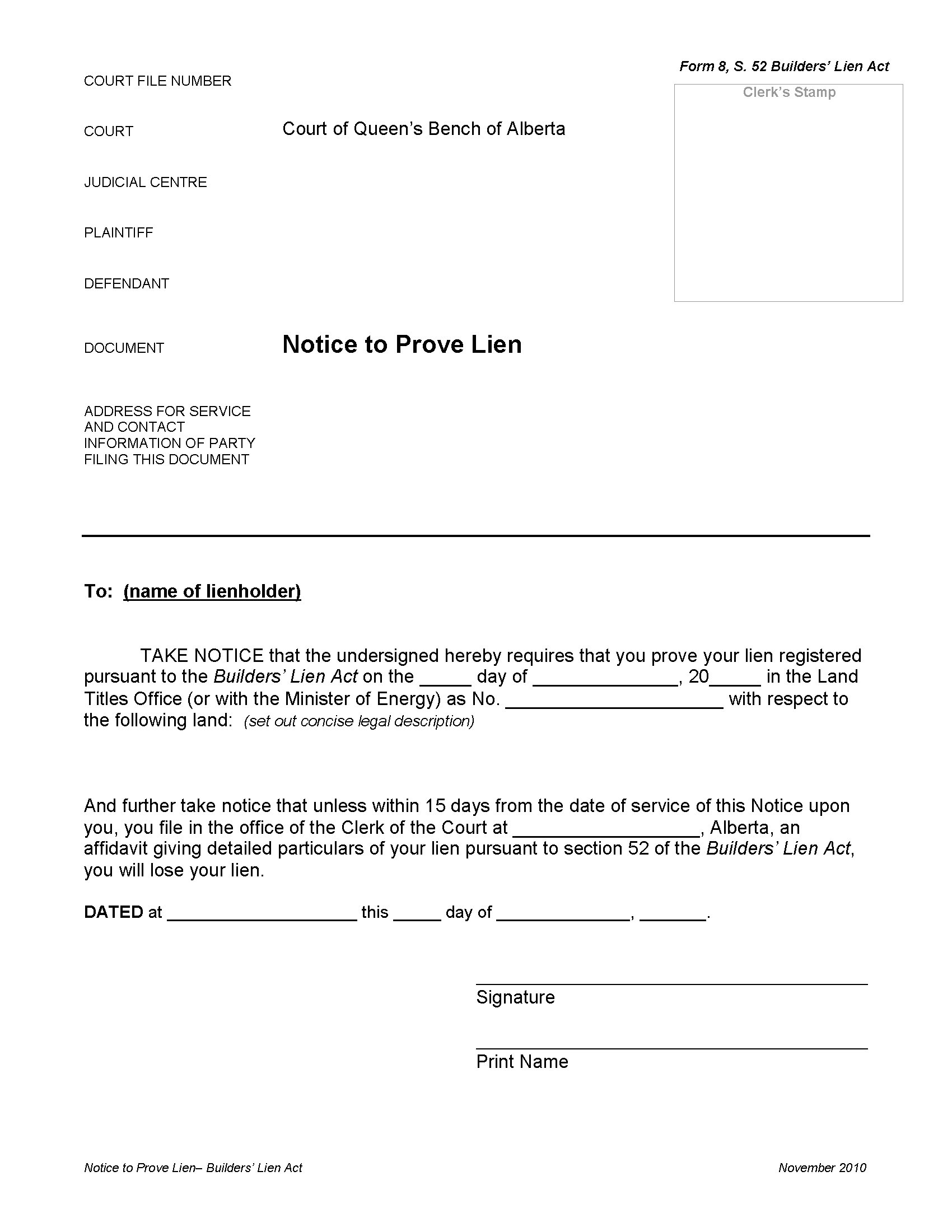 Letter Of Intent to File A Lien Template - Letter Intent to File Lien Preview Alberta Notice Prove Builders