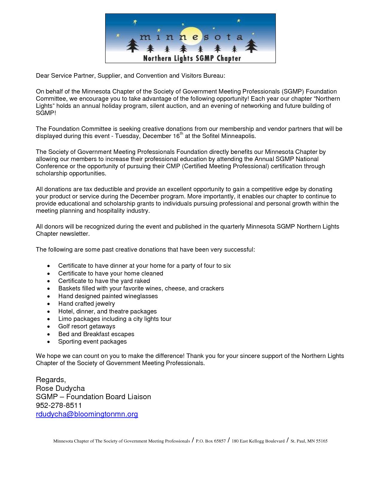 Silent Auction Donation Request Letter Template - Letter Intent to Give Donation Silent Auction Cover Latter Sample