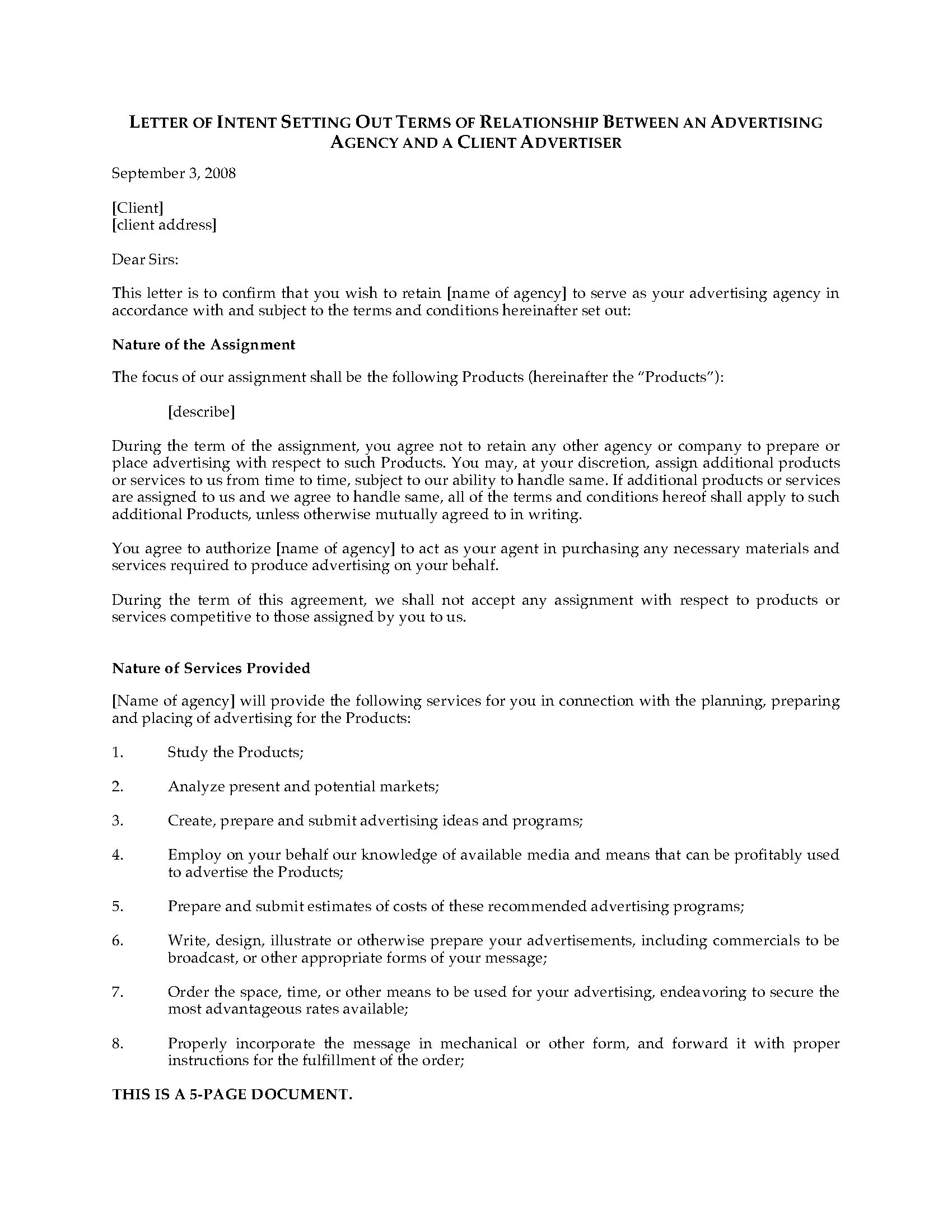 Lease Letter Of Intent Template - Letter Intent to Hire Template