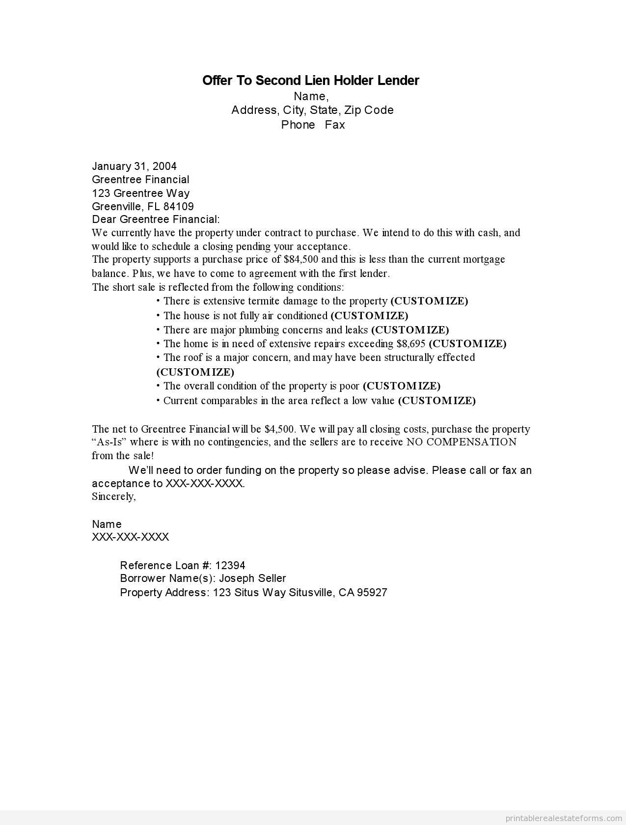 Intent to Lien Letter Template - Letter Intent to Lien Sample Printable Fer Second Holder Lender