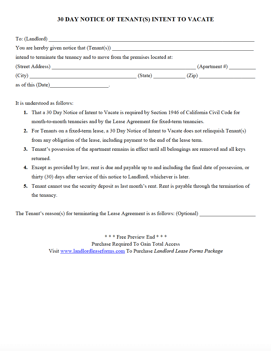 Days Tenant Notice Letter Template on intent vacate, vacate california, lease termination letter, sample letter,
