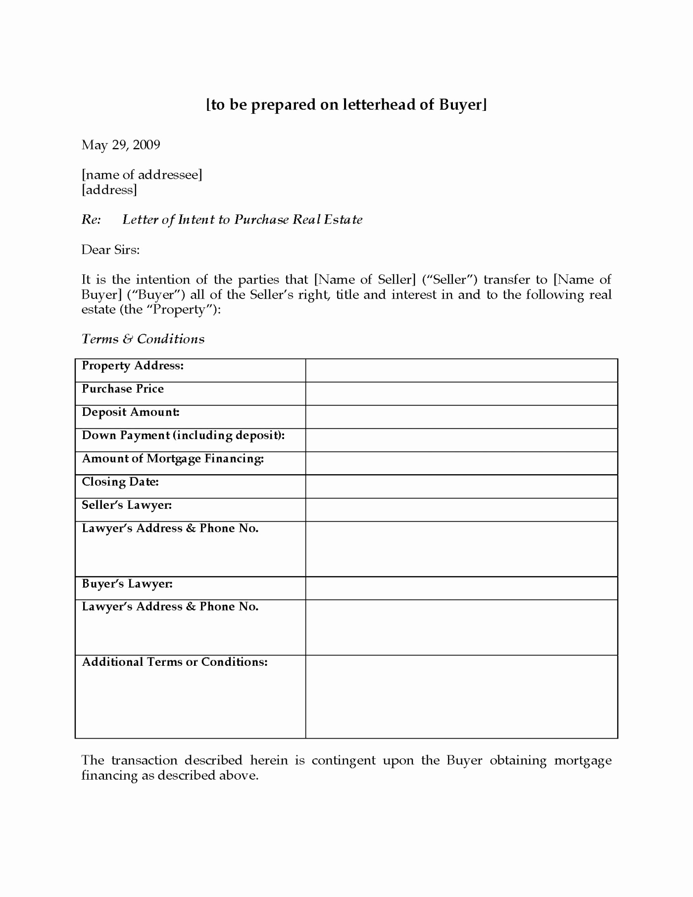 Letter Of Intent to Purchase Template - Letter Intent to Purchase Property Template Beautiful Canada