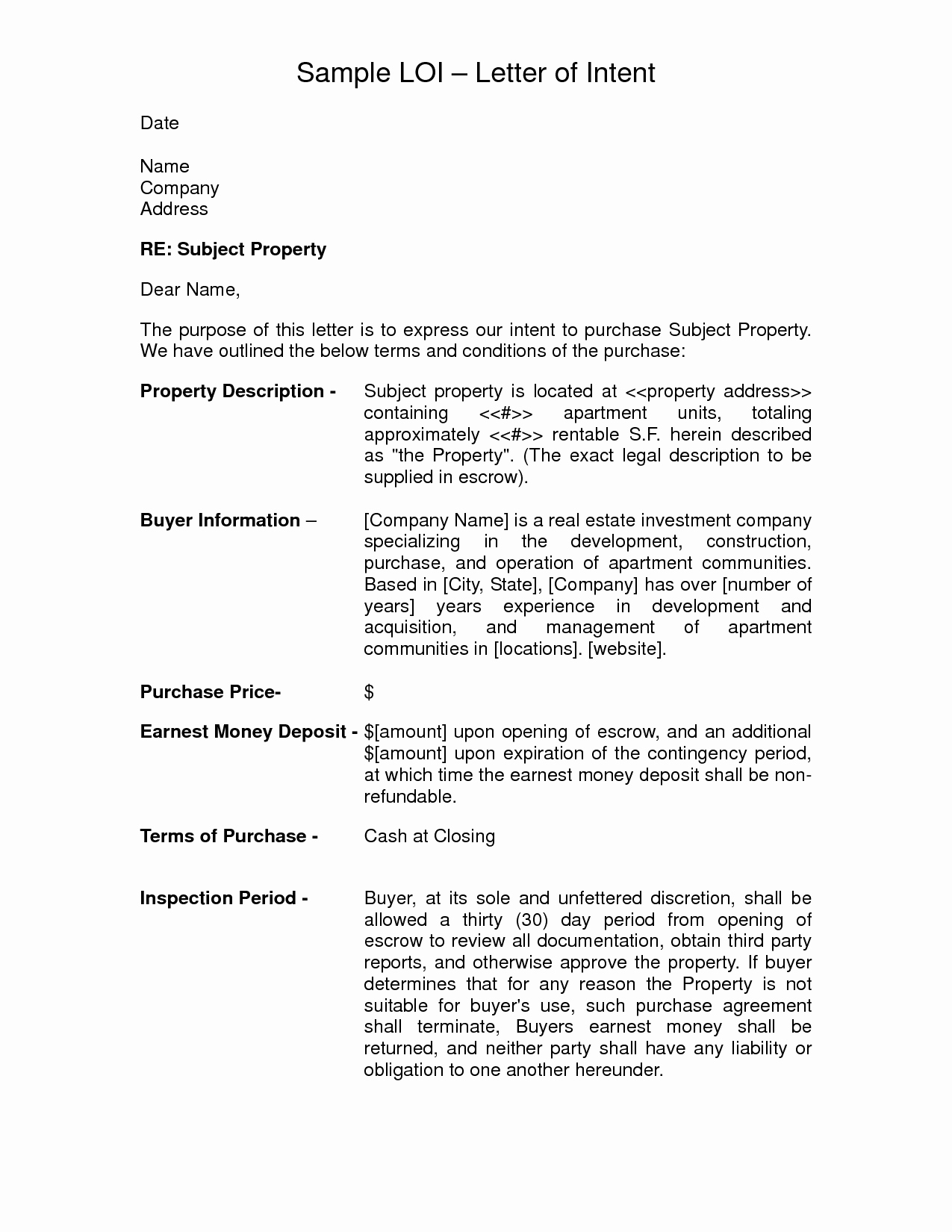 Letter Of Intent to Purchase Template - Letter Intent to Purchase Property Template Beautiful Letter
